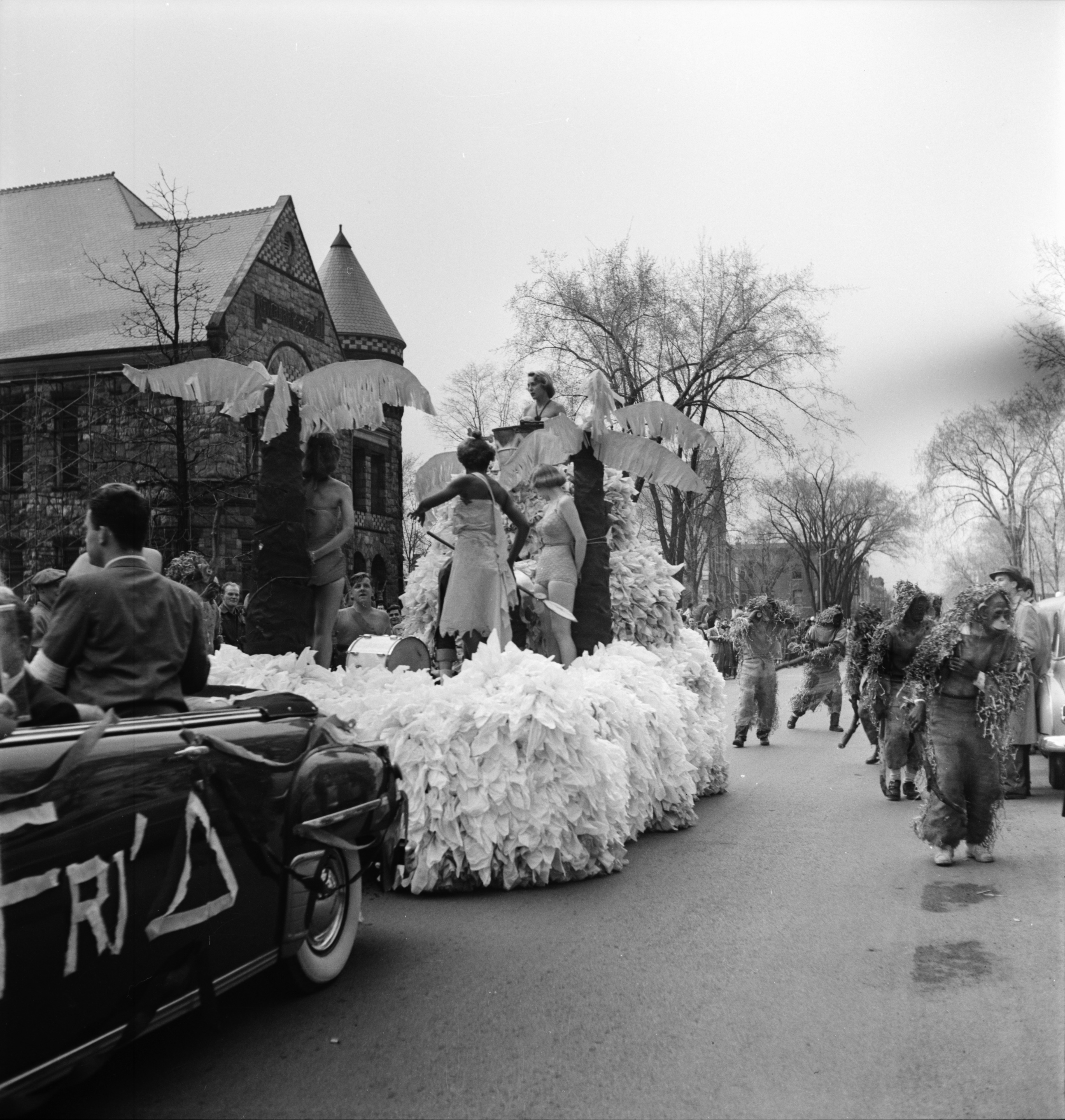 """Tarzan and his Apes"" float, U-M Michigras Parade, April 1950 image"