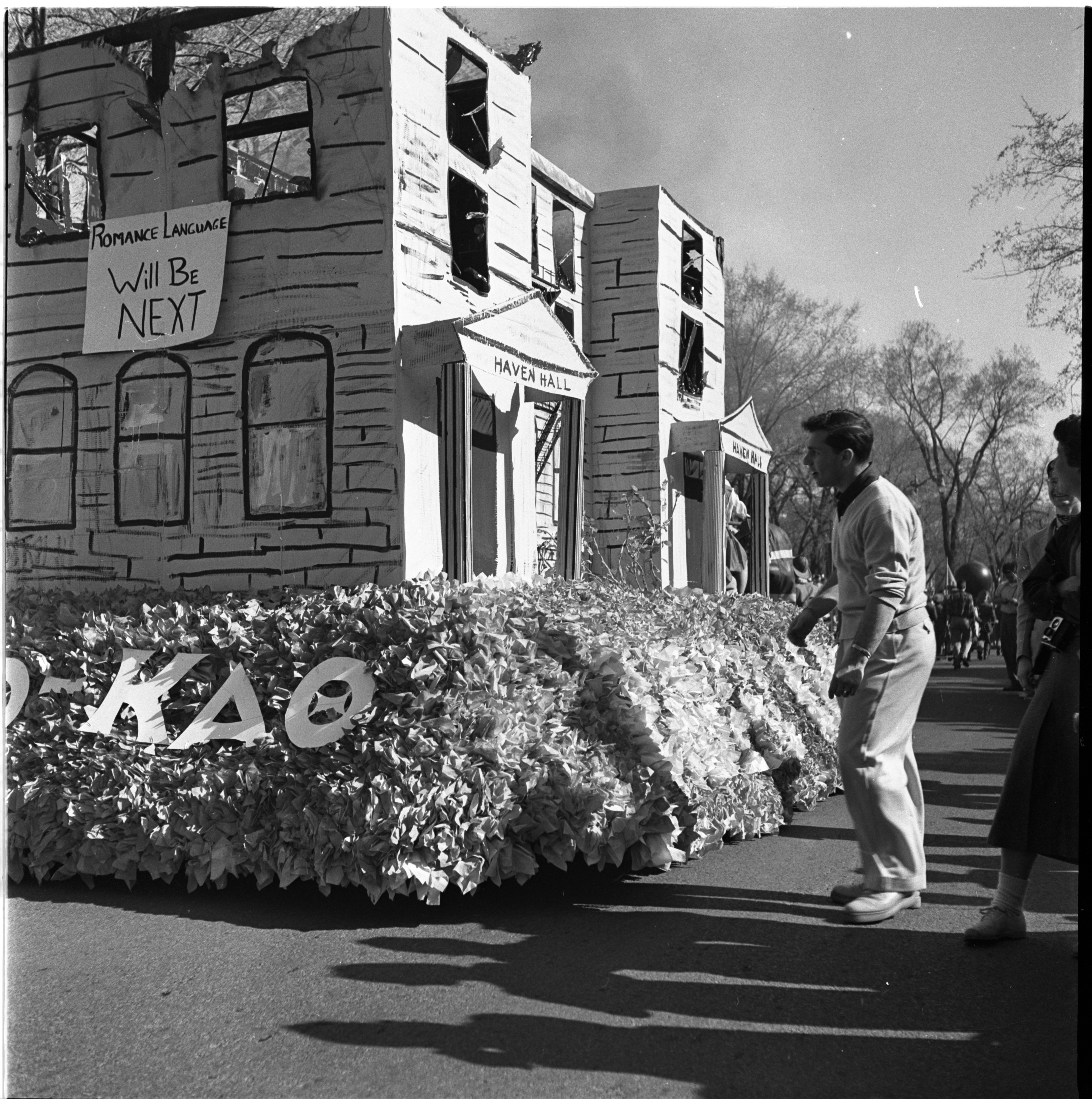 Michigras Parade Takes To Ann Arbor Streets, April 1952 image