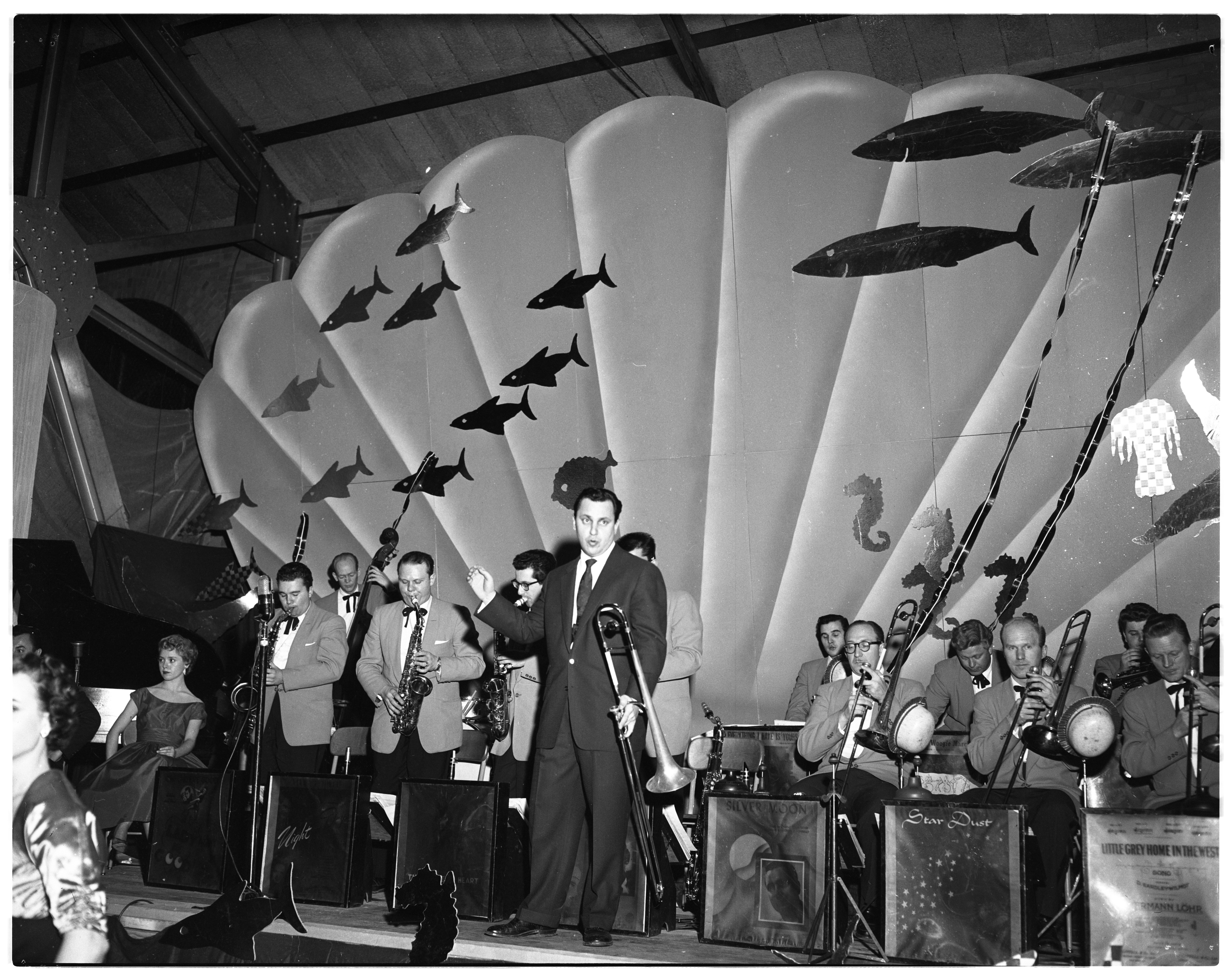 Bandleader Buddy Morrow and his band play at the J-Hop, February 5, 1954 image