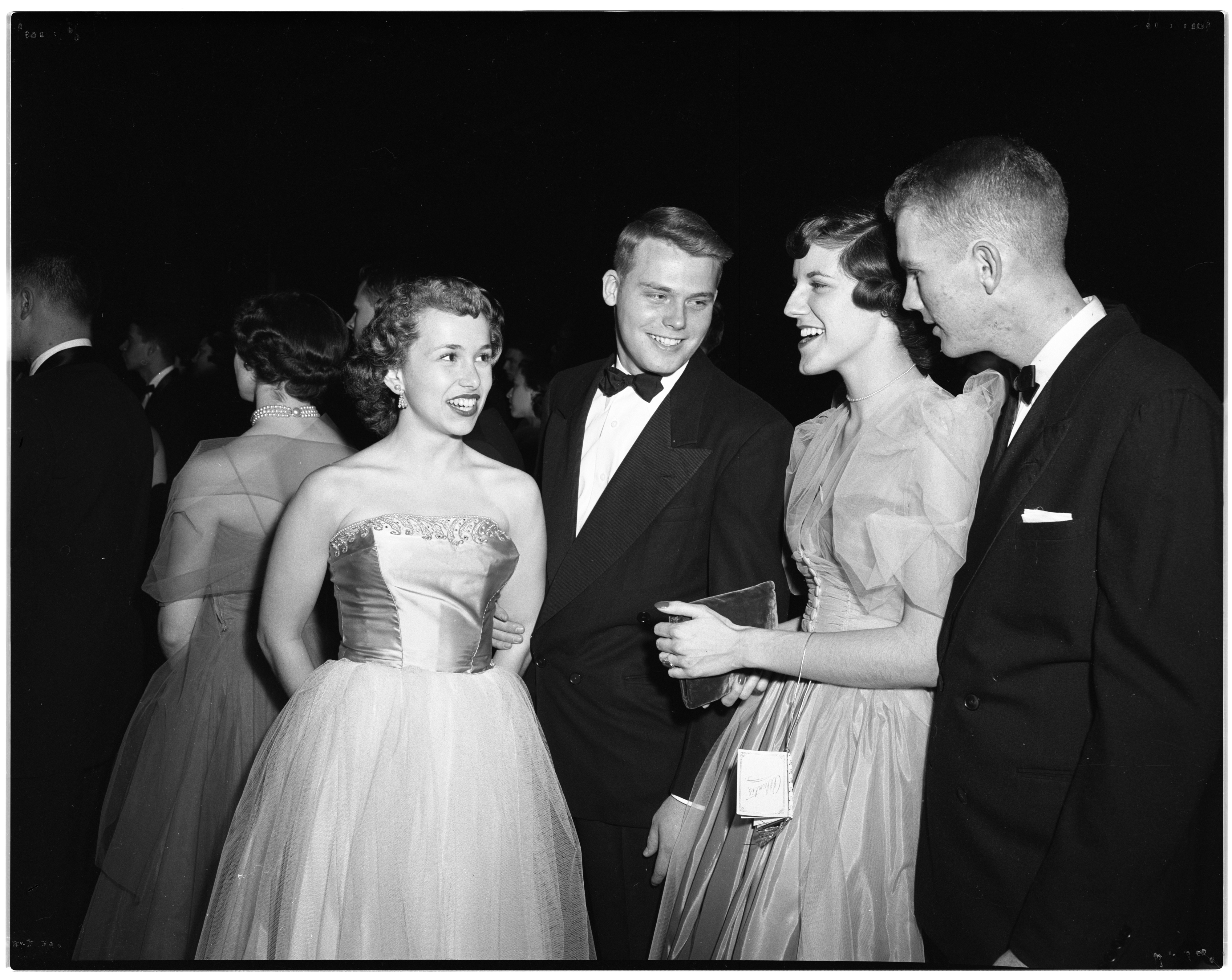 Dorothy Hammett and George Allen (couple at left) chat with Mary Ann Kerlikowske and Gary Michaelson at the J-Hop, February 5, 1954 image