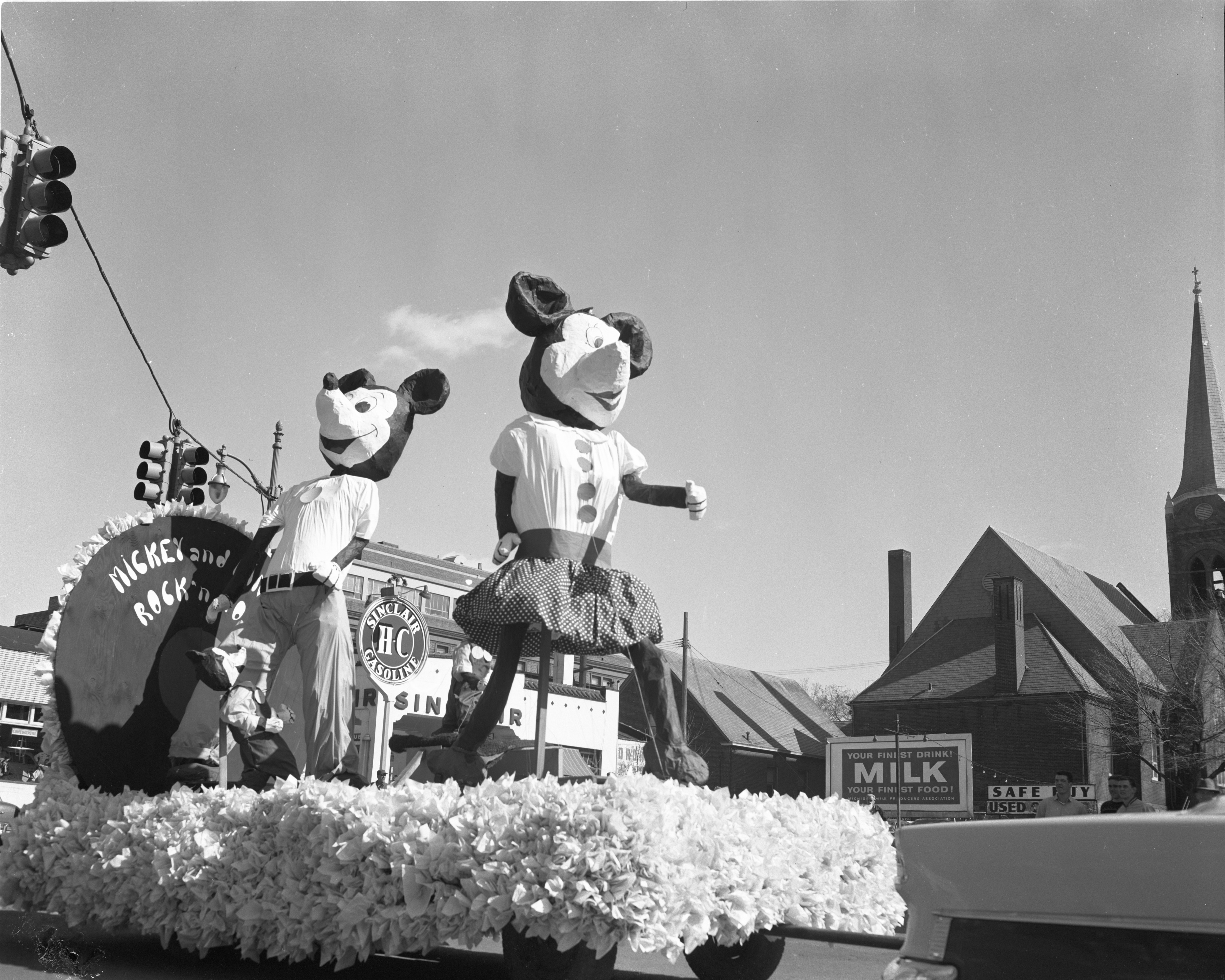 Mickey & Minnie Mouse Rock and Roll -  Chi Phi & Kappa Delta, Michigras Parade, April 1956 image