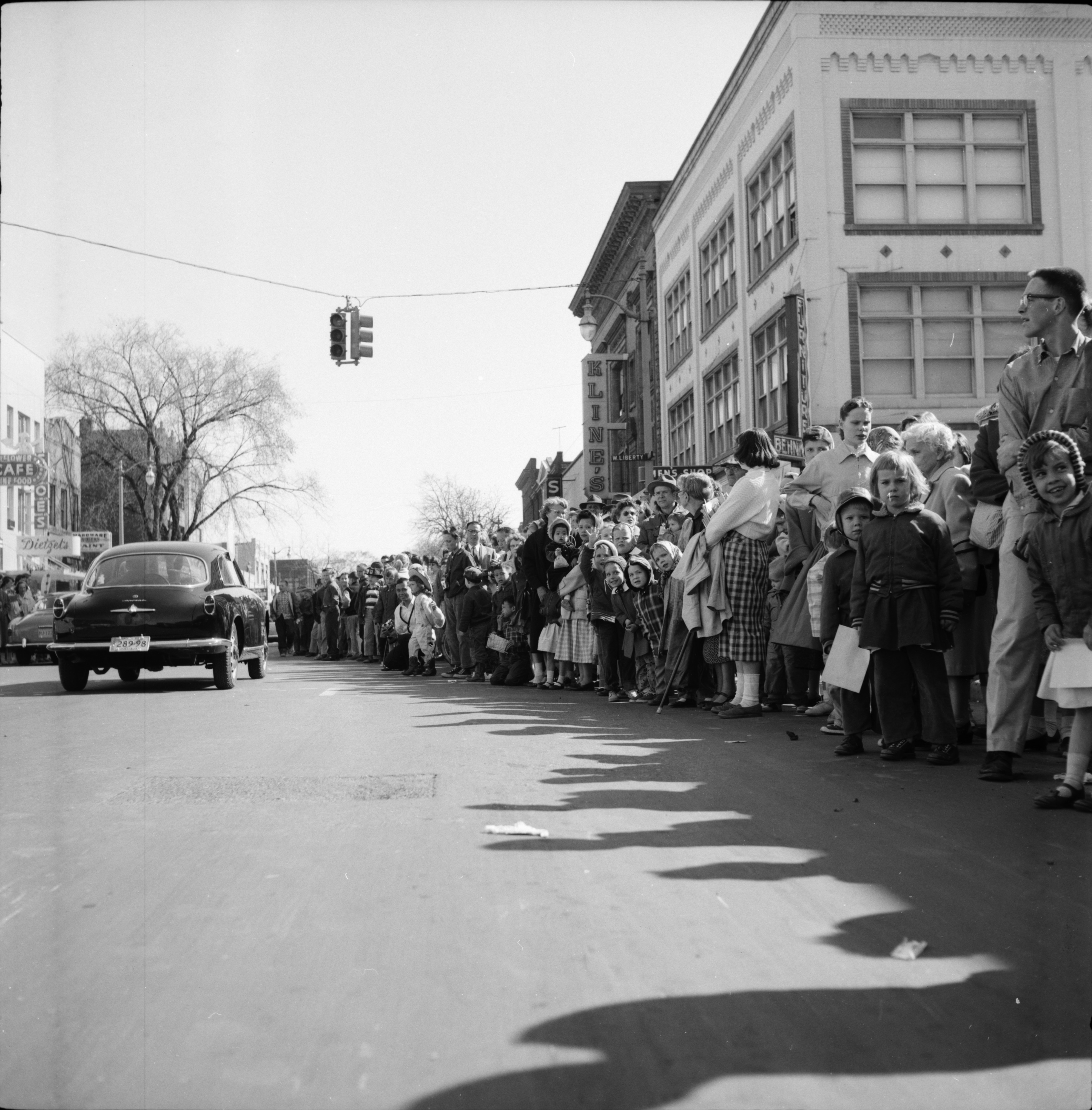 The Crowd Watches the Michigras Parade, April 1958 image