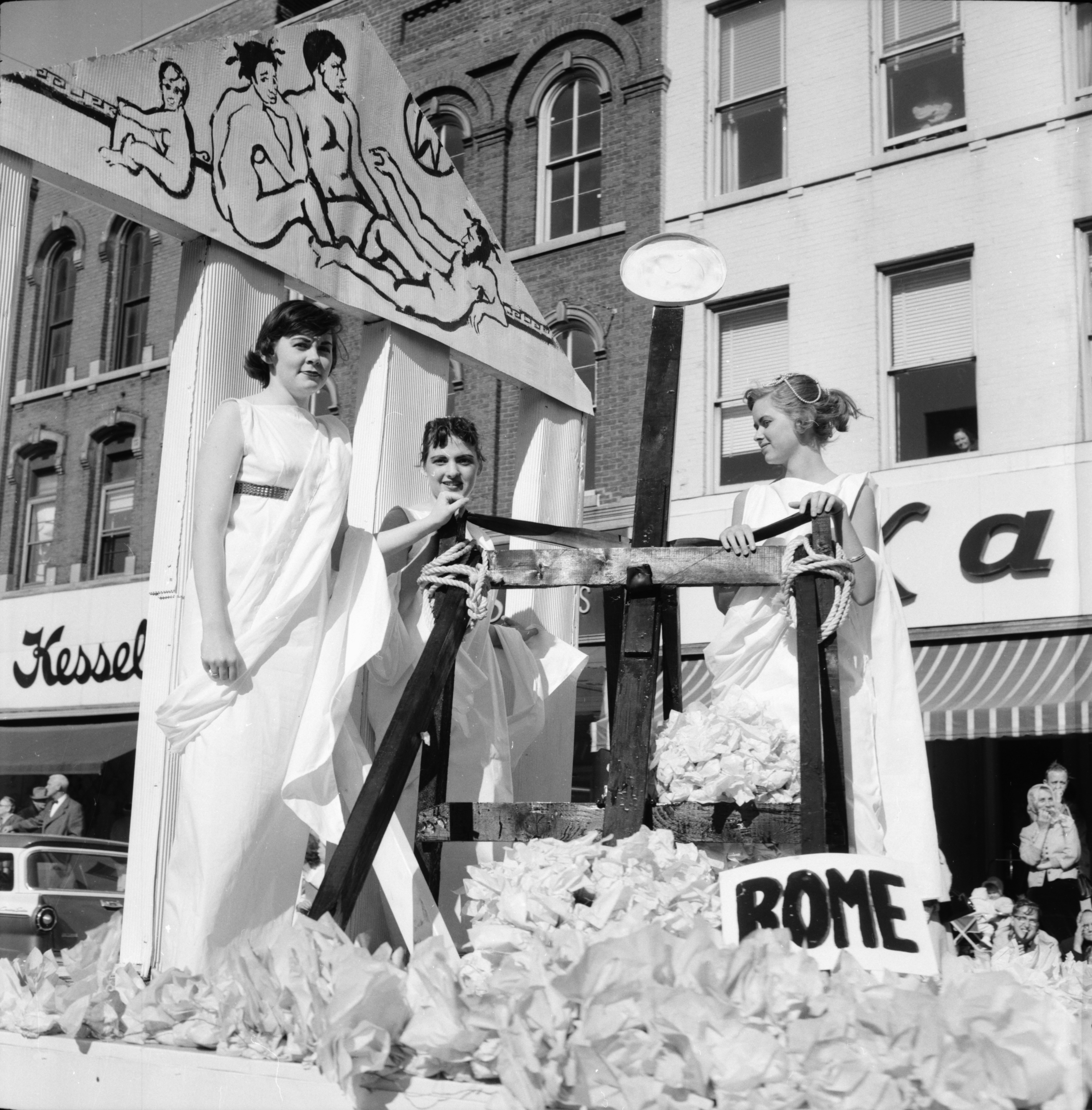 A Roman Theme in the Michigras Parade, April 1958 image