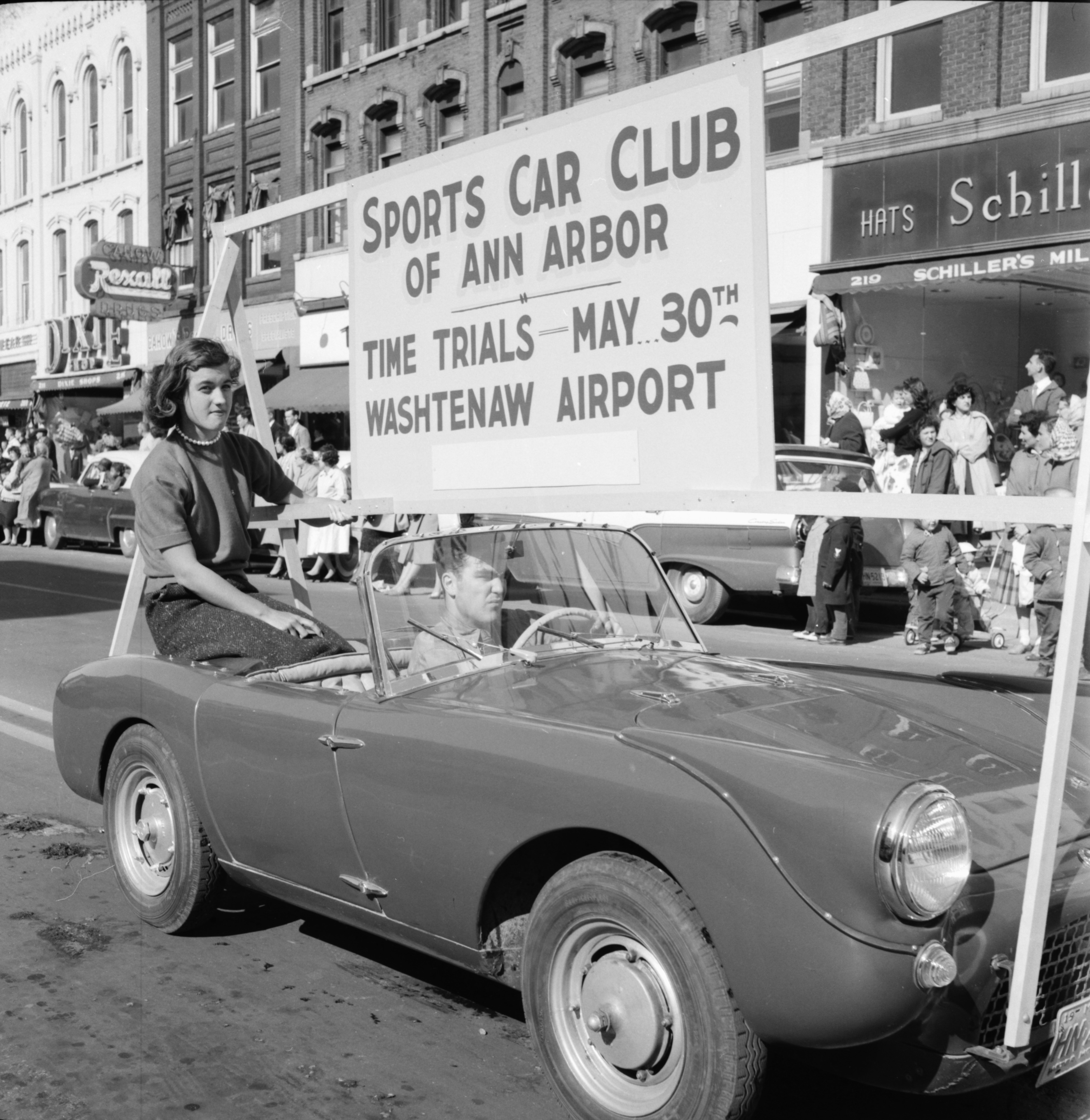Sports Car Club of Ann Arbor in the Michigras Parade, April 1958 image