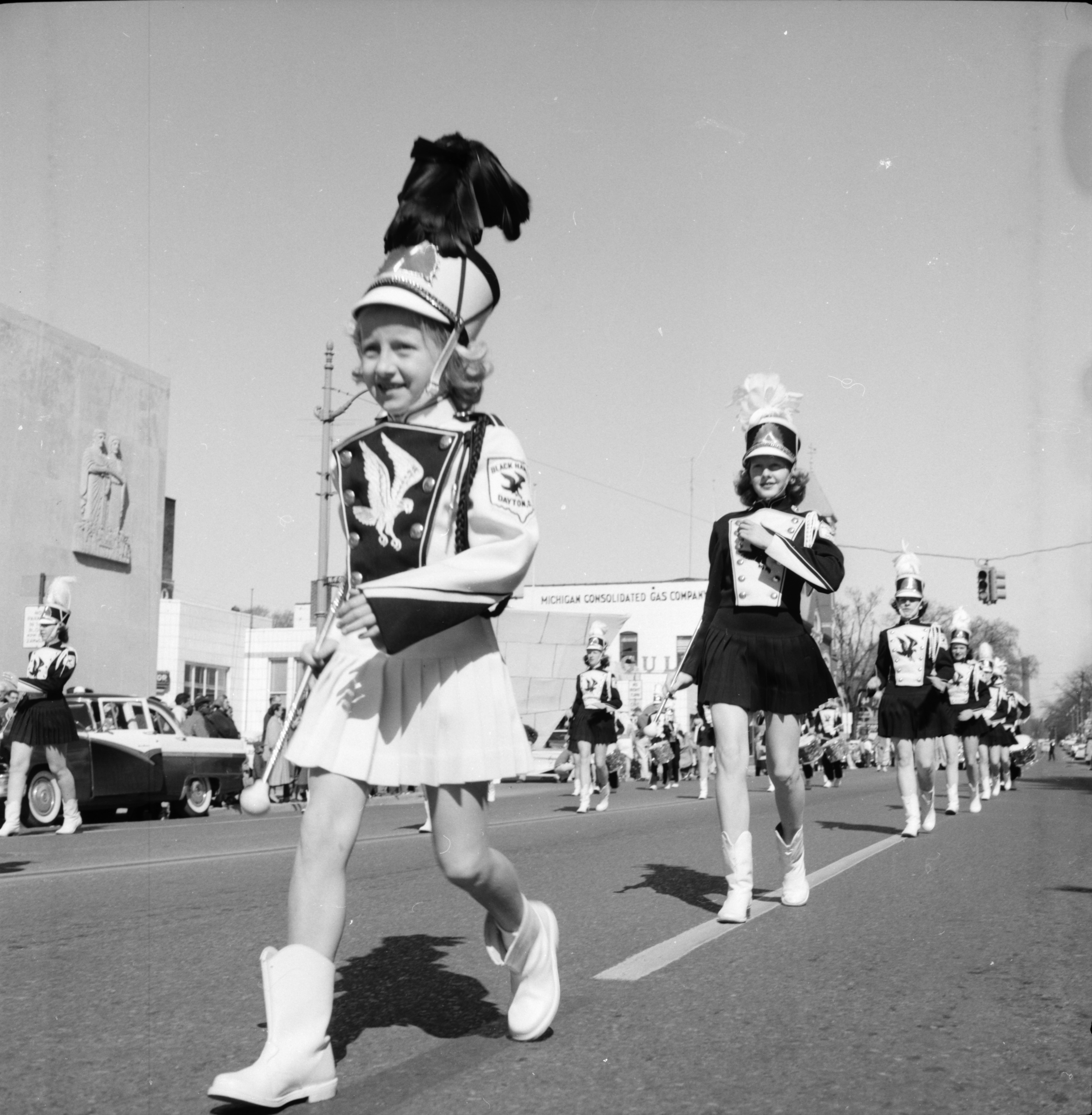 Young Majorettes March Down Huron Street in the Michigras Parade, April 1958 image