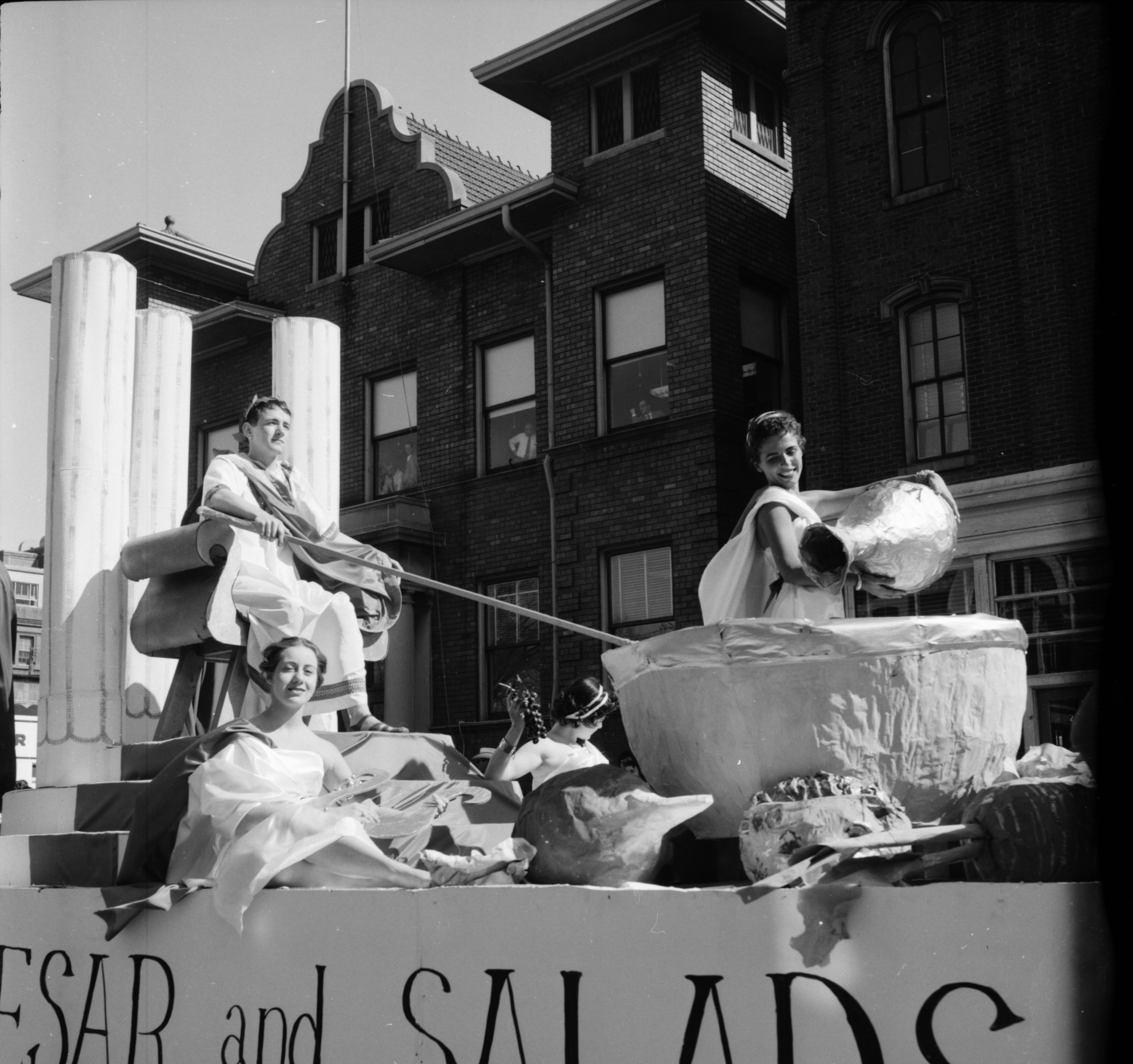 Ceasar and Salads Float in the Michigras Parade, April 1958 image