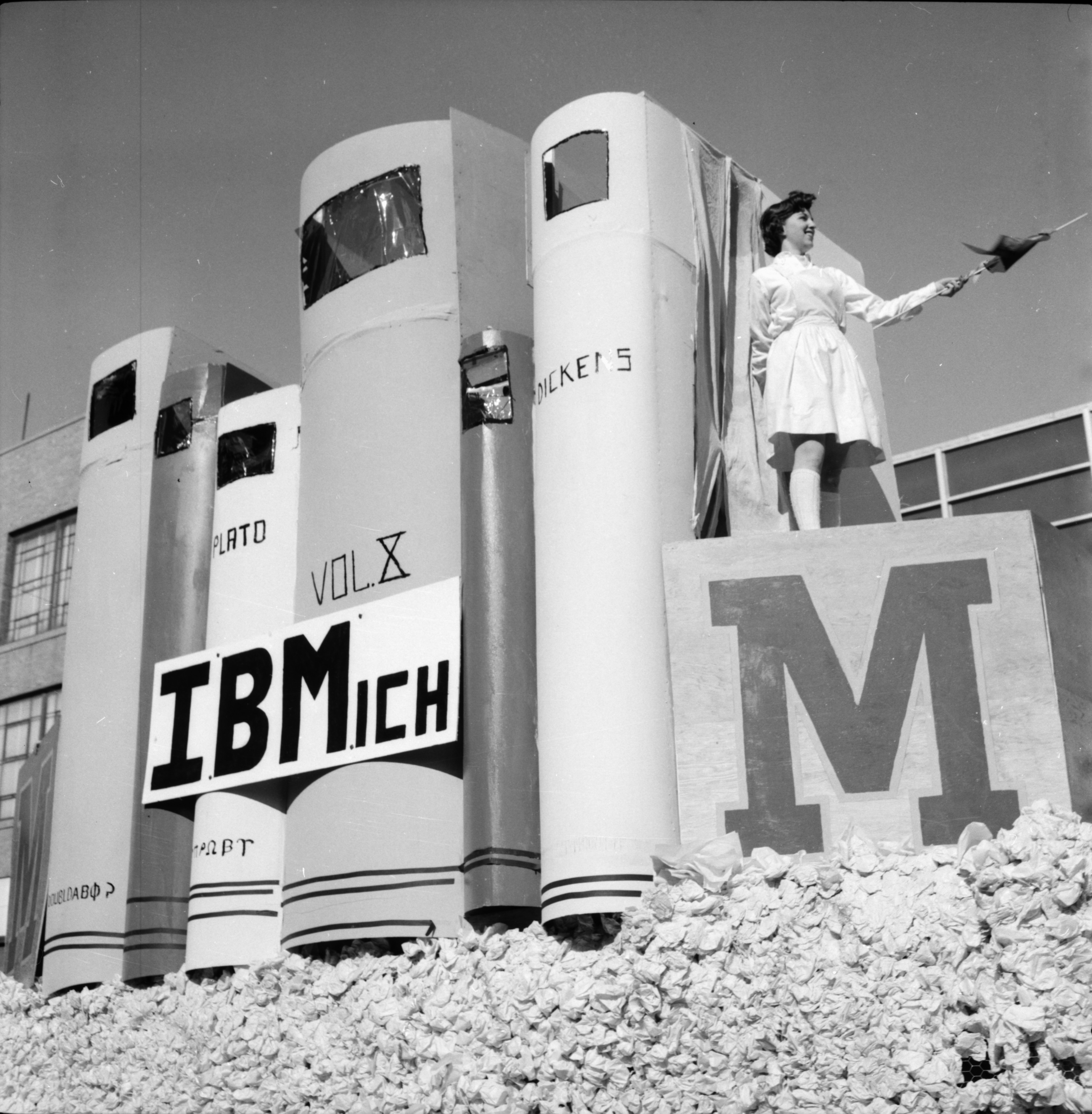 IBMich Float in the Michigras Parade, April 1958 image