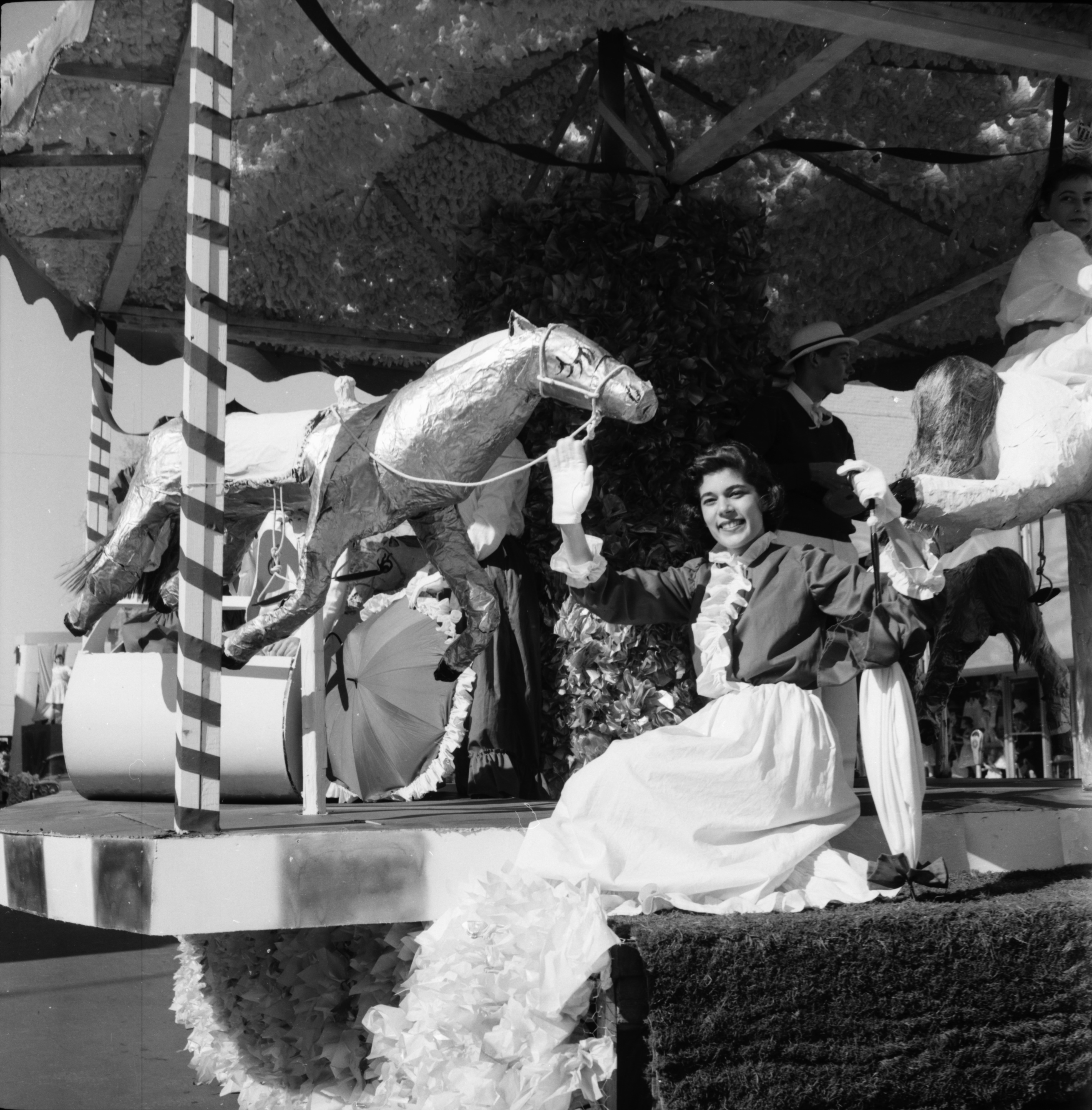 Phi Delta Theta and Betsy Barbour Float in the Michigras Parade, April 1958 image