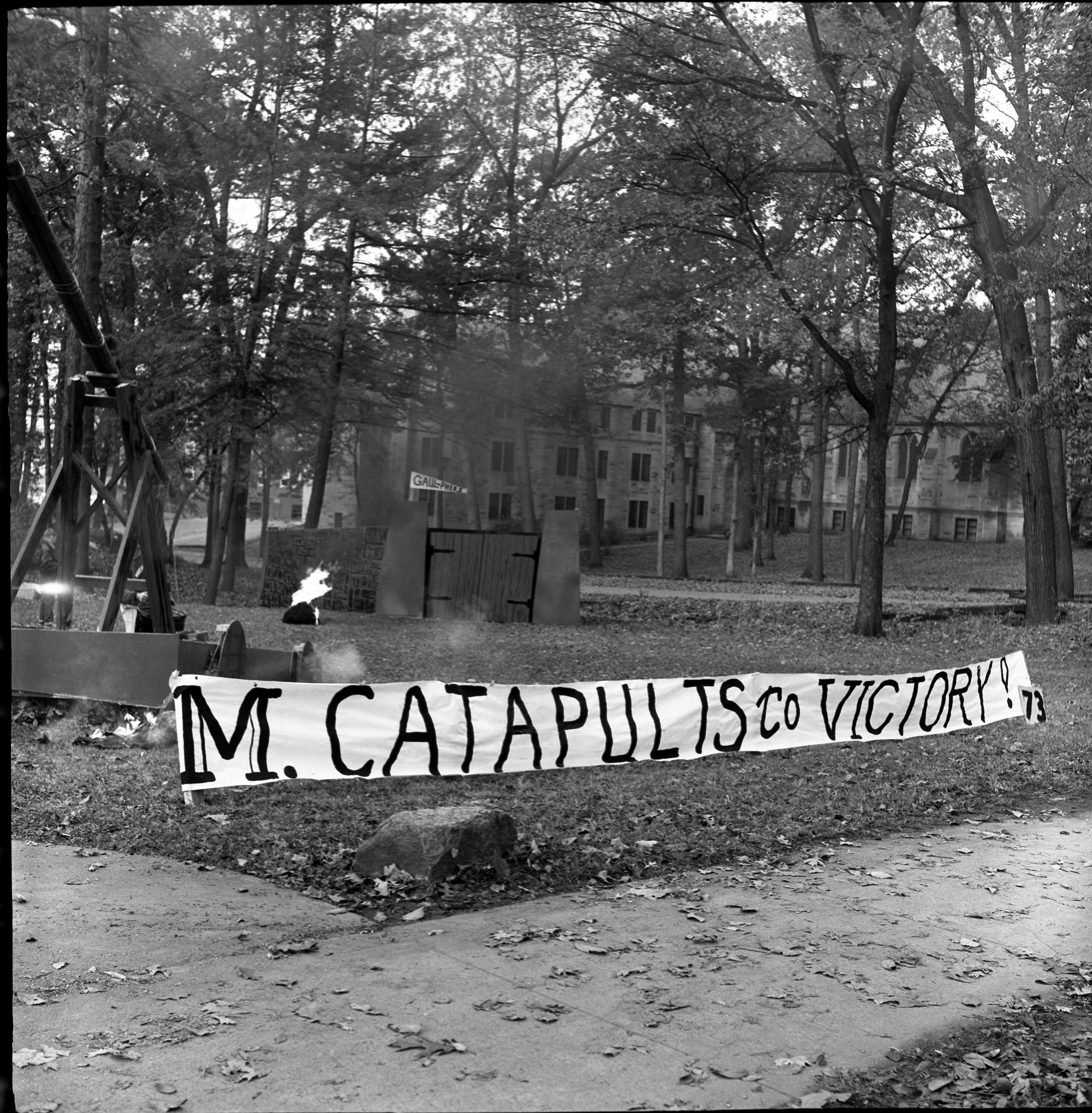 "University of Michigan Homecoming Display, ""M Catapults To Victory"", October 1960 image"