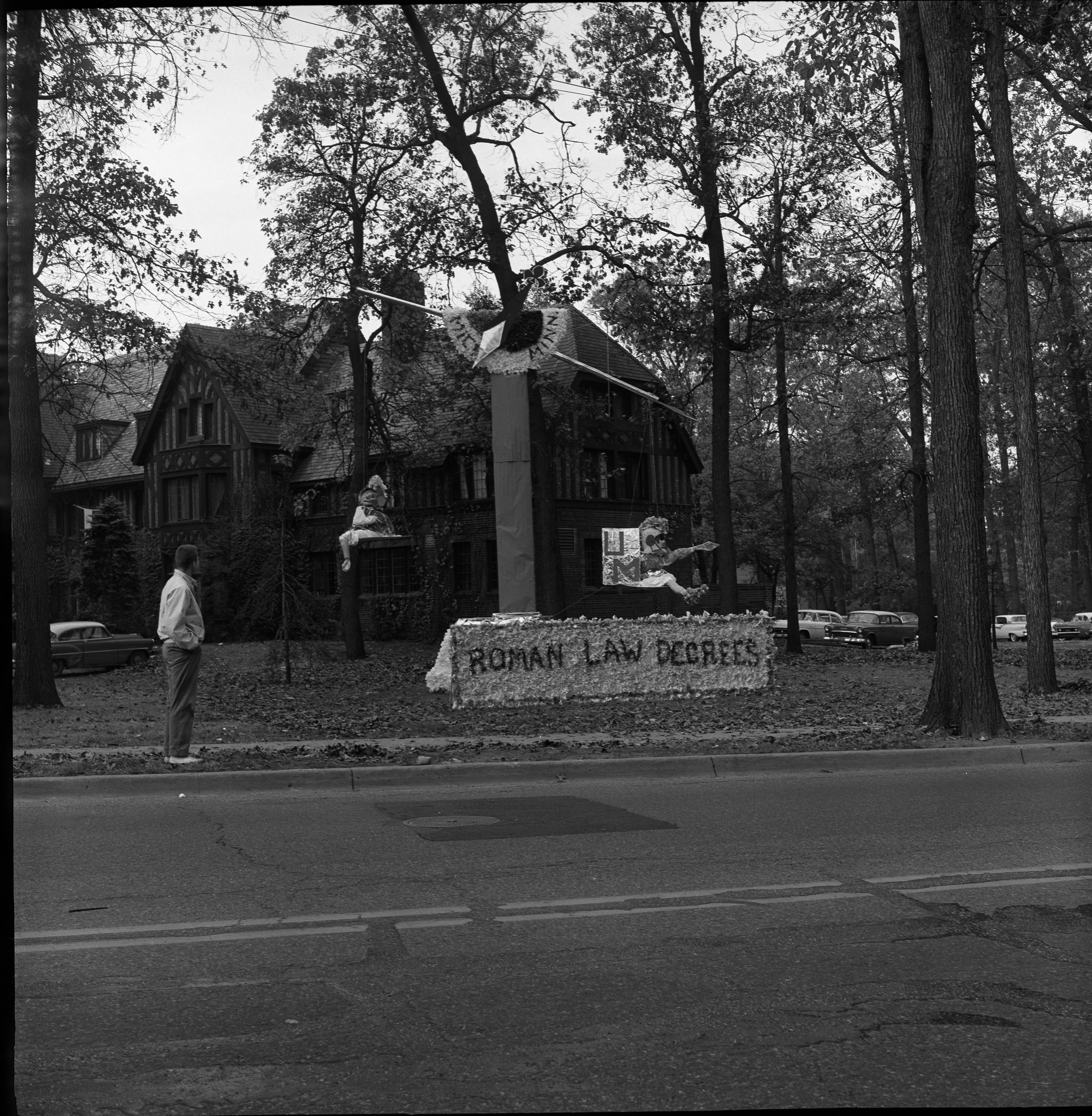 "University of Michigan Homecoming Display, ""Roman Law Degrees"", October 1960 image"