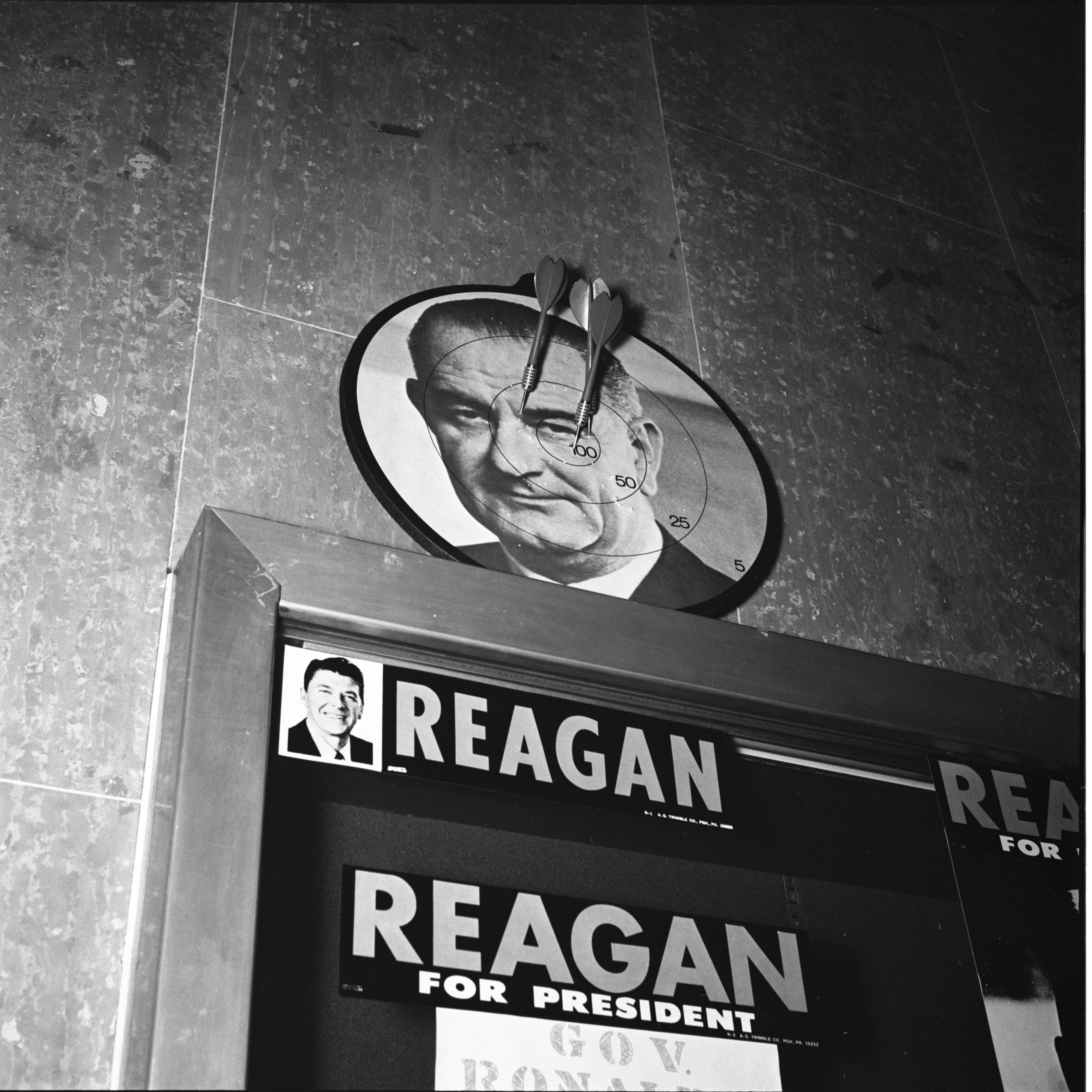 "University Of Michigan ""Students For Reagan"" Throw Darts At LBJ, March 1968 image"