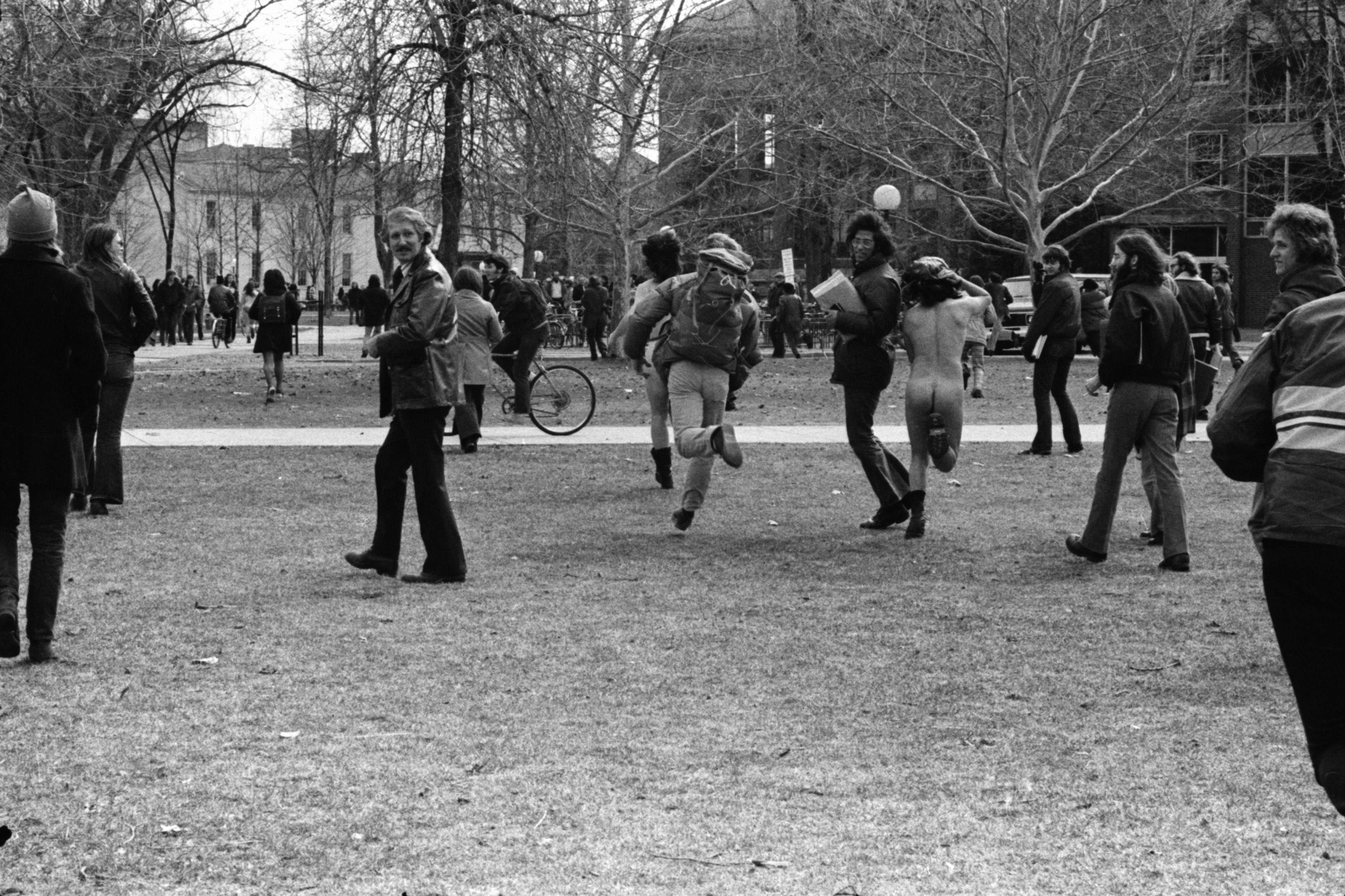 Streakers run across the U-M campus, March 1974 image
