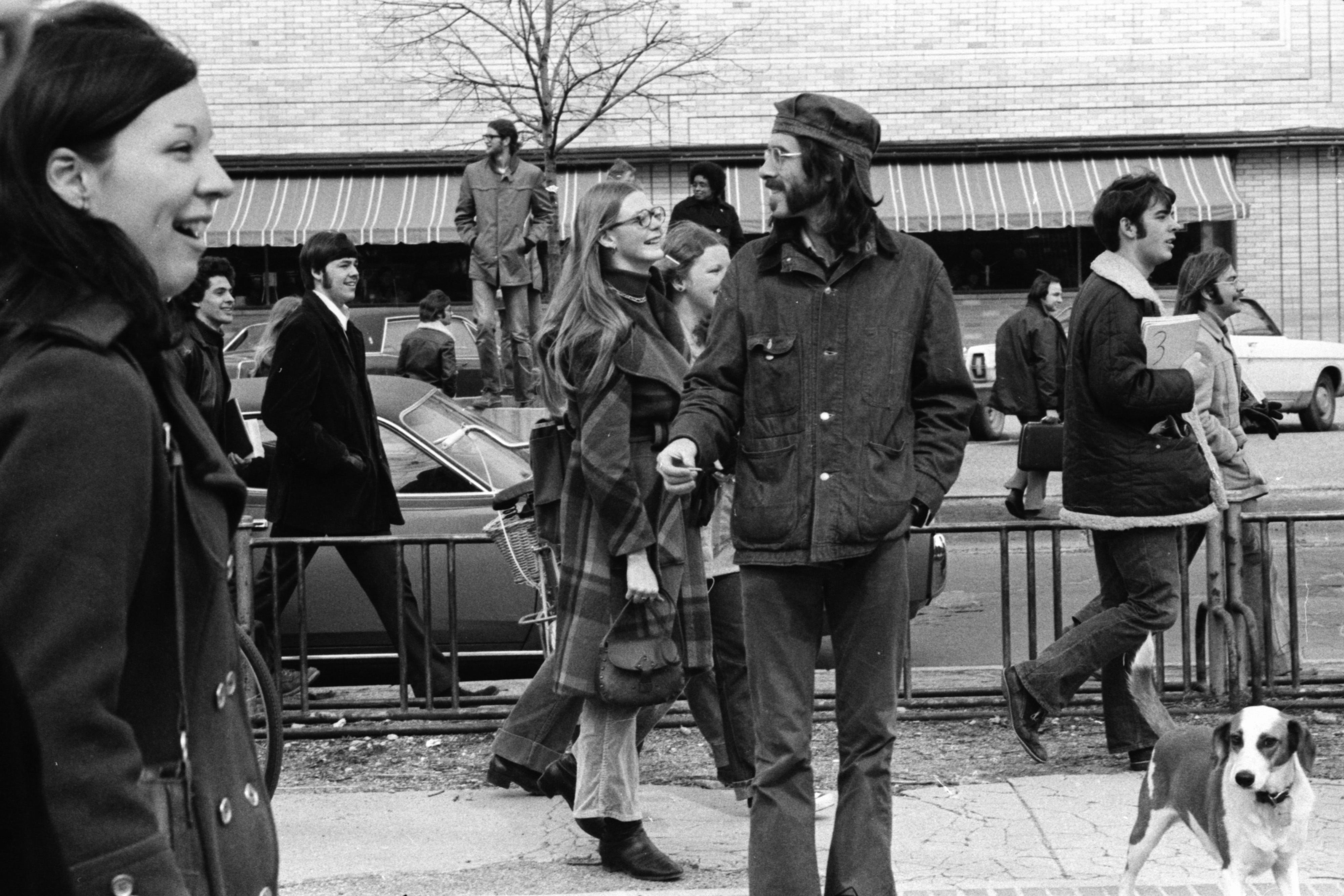 People on North University Avenue watching streakers on U-M campus, March 1974 image