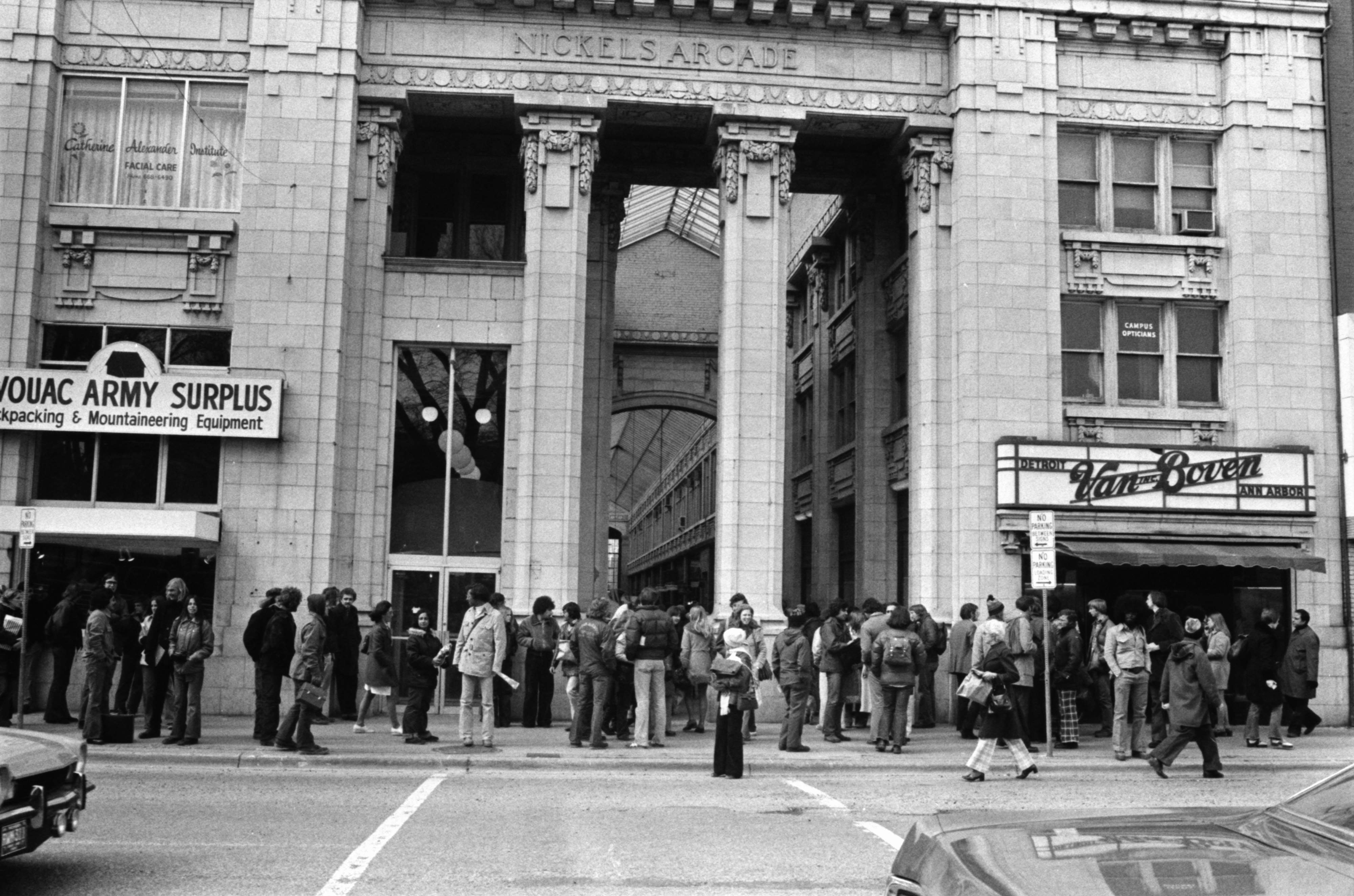 Streakers on the U-M campus attract a crowd in front of Nickels Arcade, March 1974 image