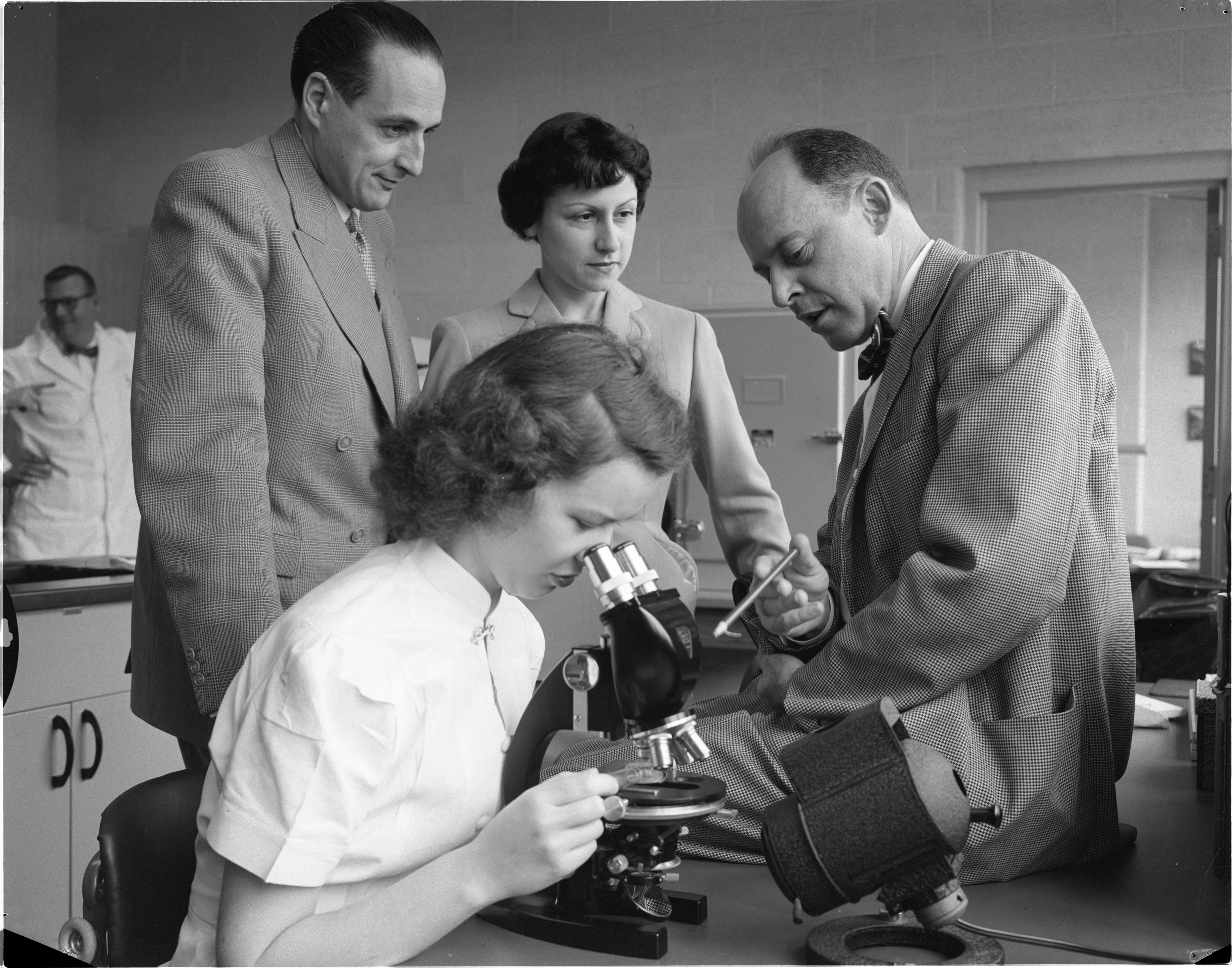 Dr. Francois Emile-Zola & Wife Visit The University Of Michigan's Institute of Industrial Health, April 1954 image