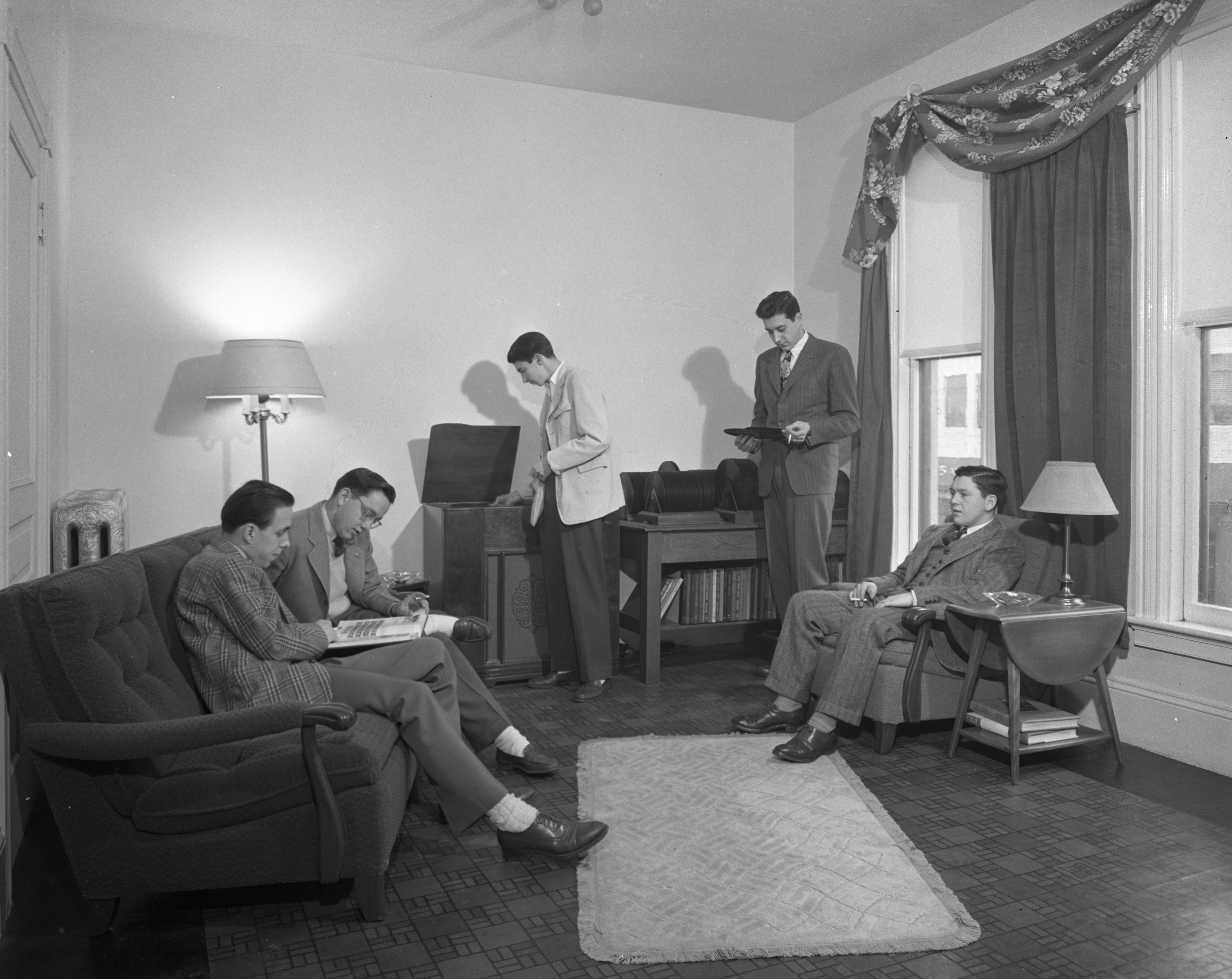 "University Of Michigan Lambda Chi Alpha Fraternity Members In Their ""Duration"" Wartime Apartment, March 1944 image"