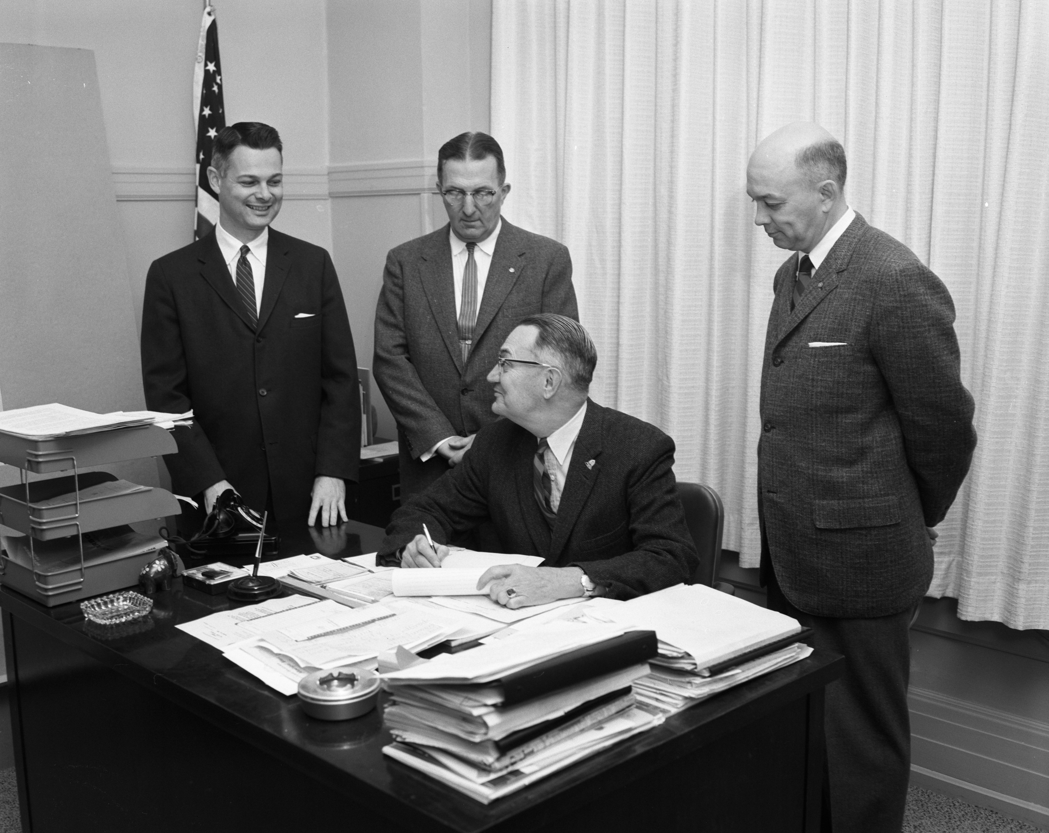 City Officials Sign Utility Permits for Ann Arbor Research Park, November 1960 image