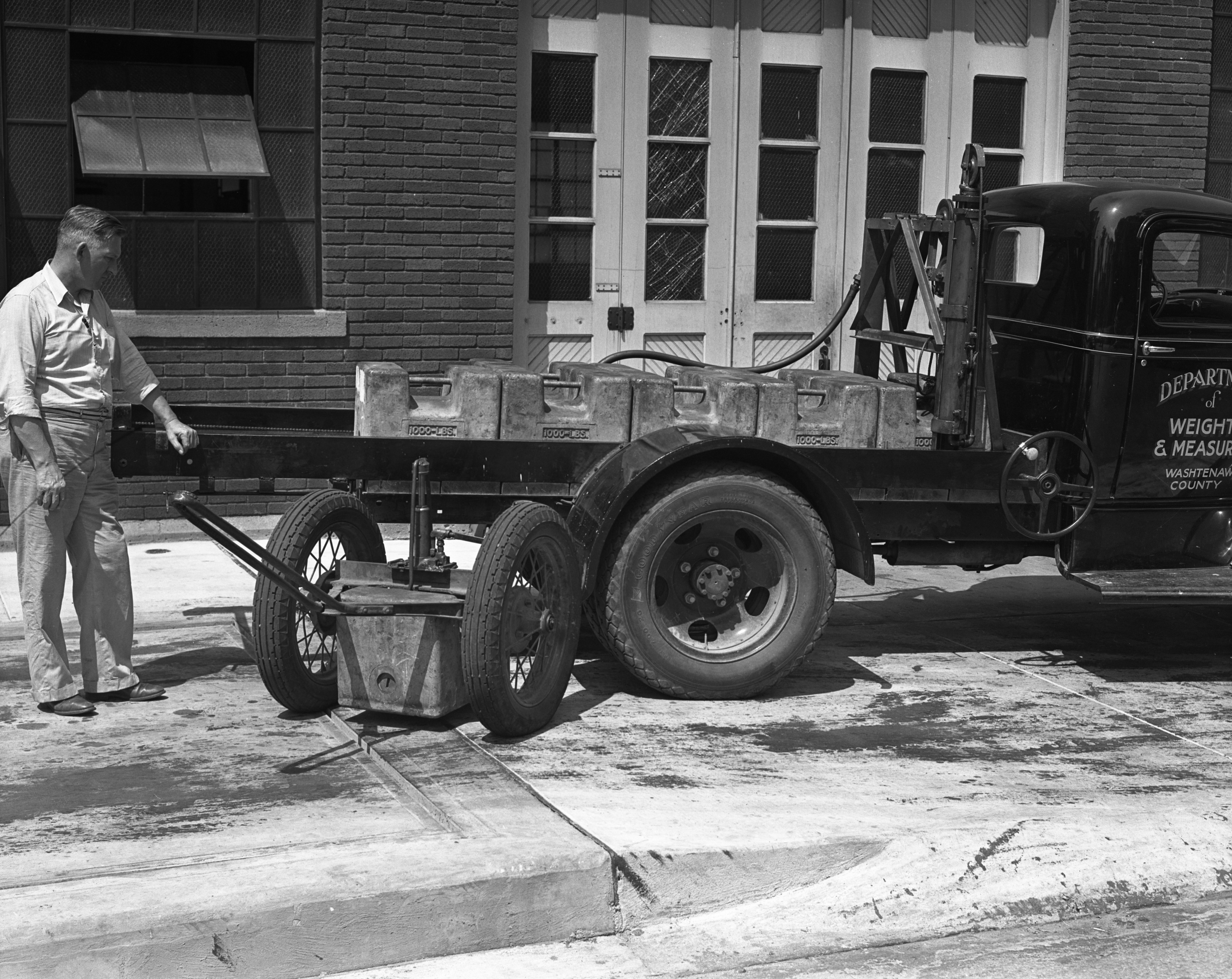 George Smith with Washtenaw County's Weighing Truck, August 1939 image