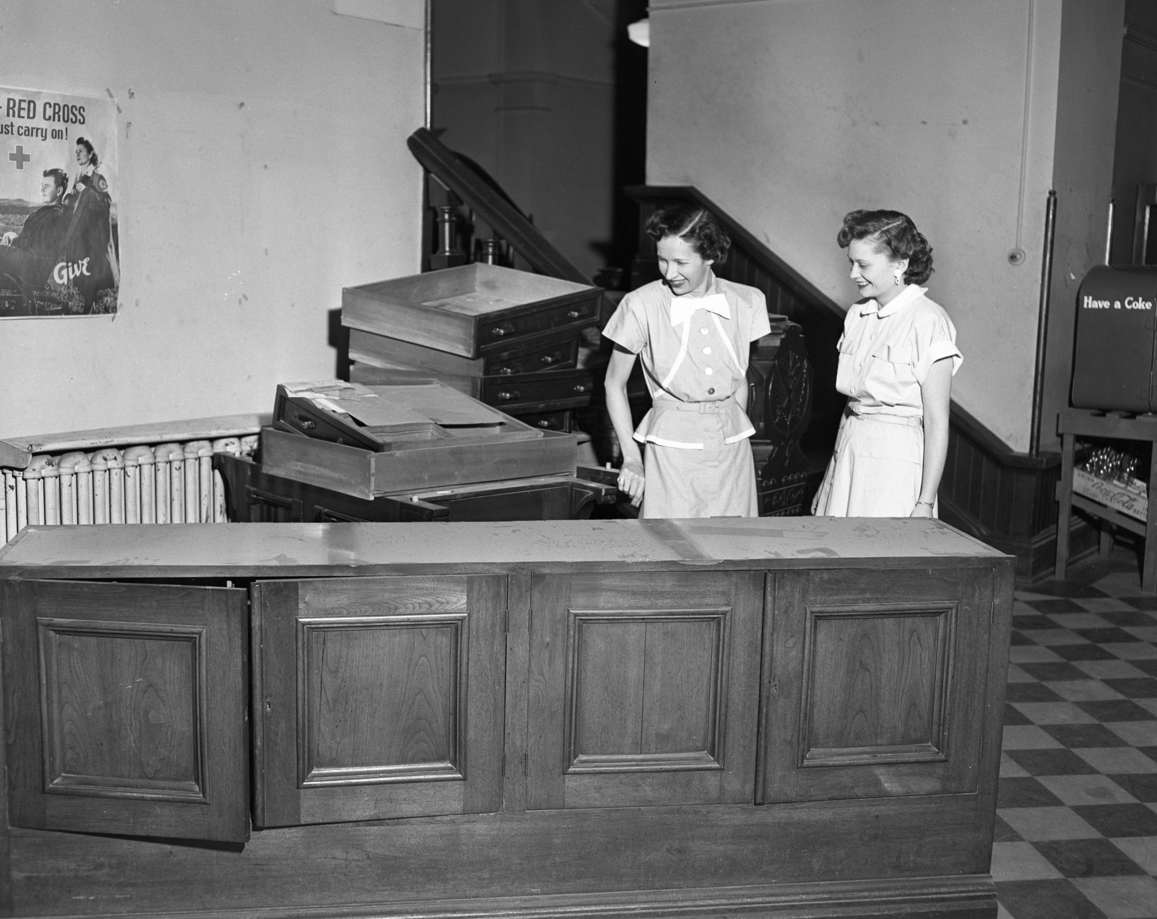 Moving equipment in the old Washtenaw County Courthouse, circa 1953 image