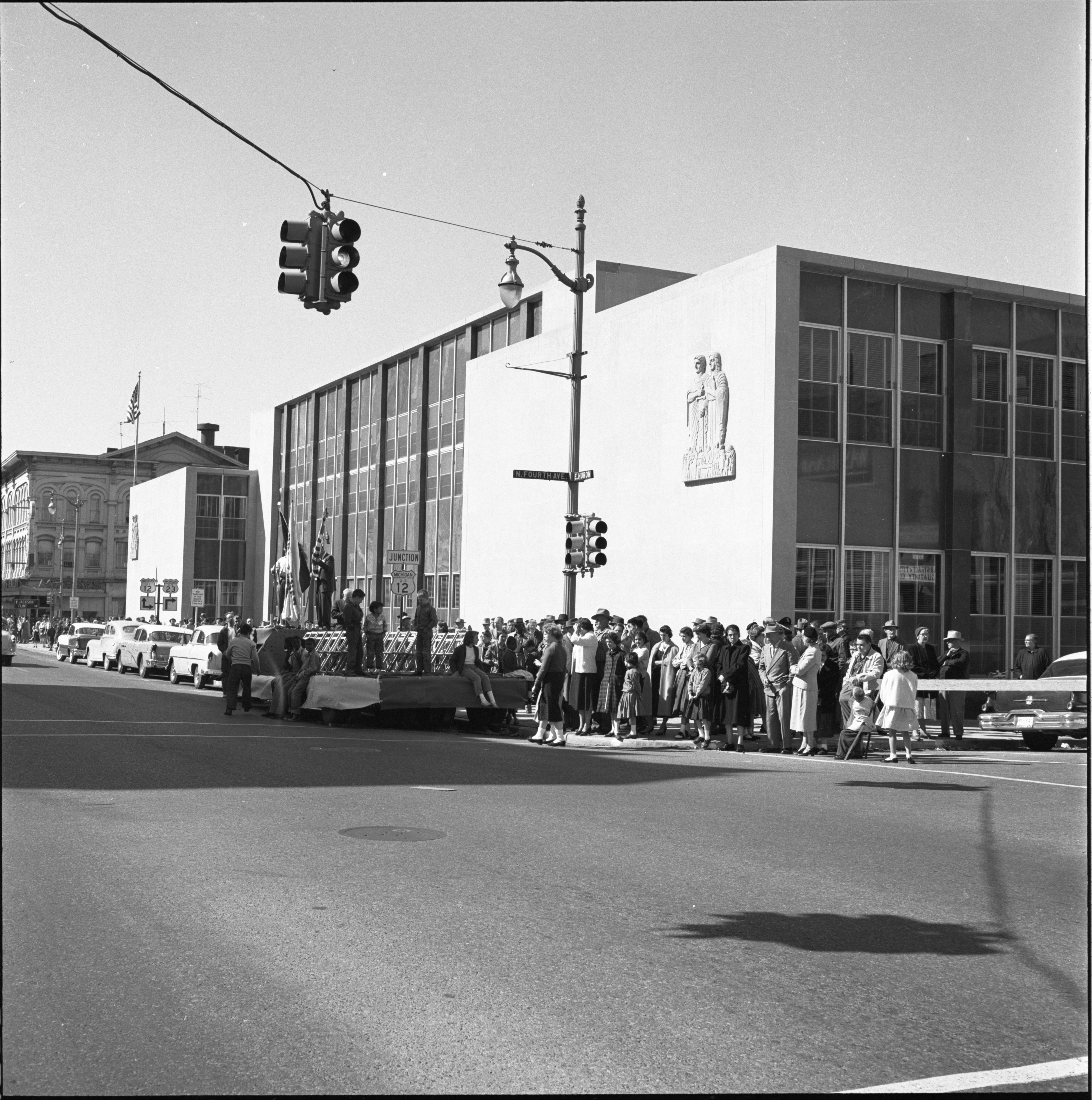 Spectators Line The Parade Route For The Washtenaw County Building Dedication Ceremony, October 1956 image