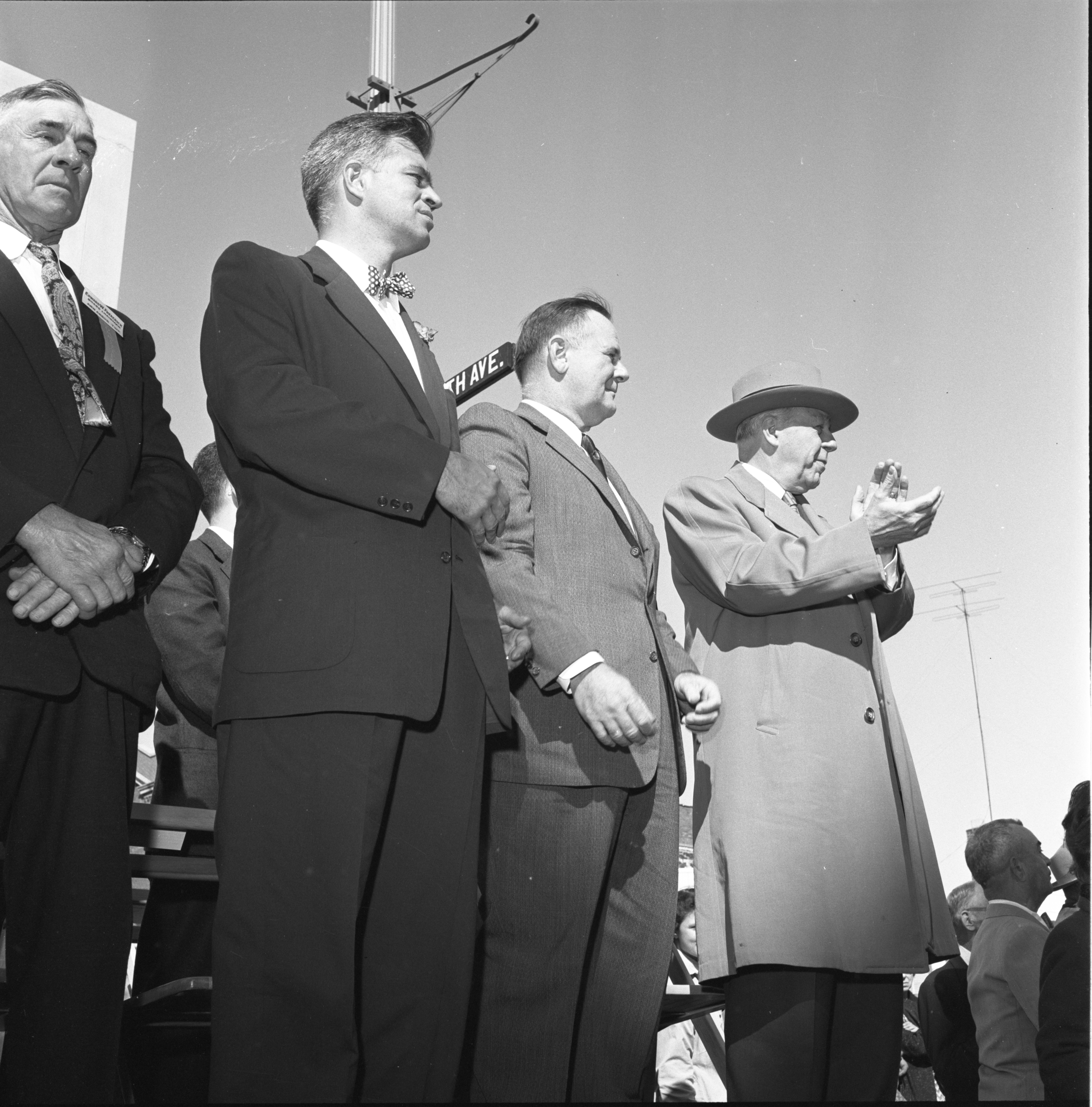 Edward Frederick, Gov. Williams, George Meader, & Wilber Brucker Watch The Washtenaw County Building Dedication Parade, October 1956 image
