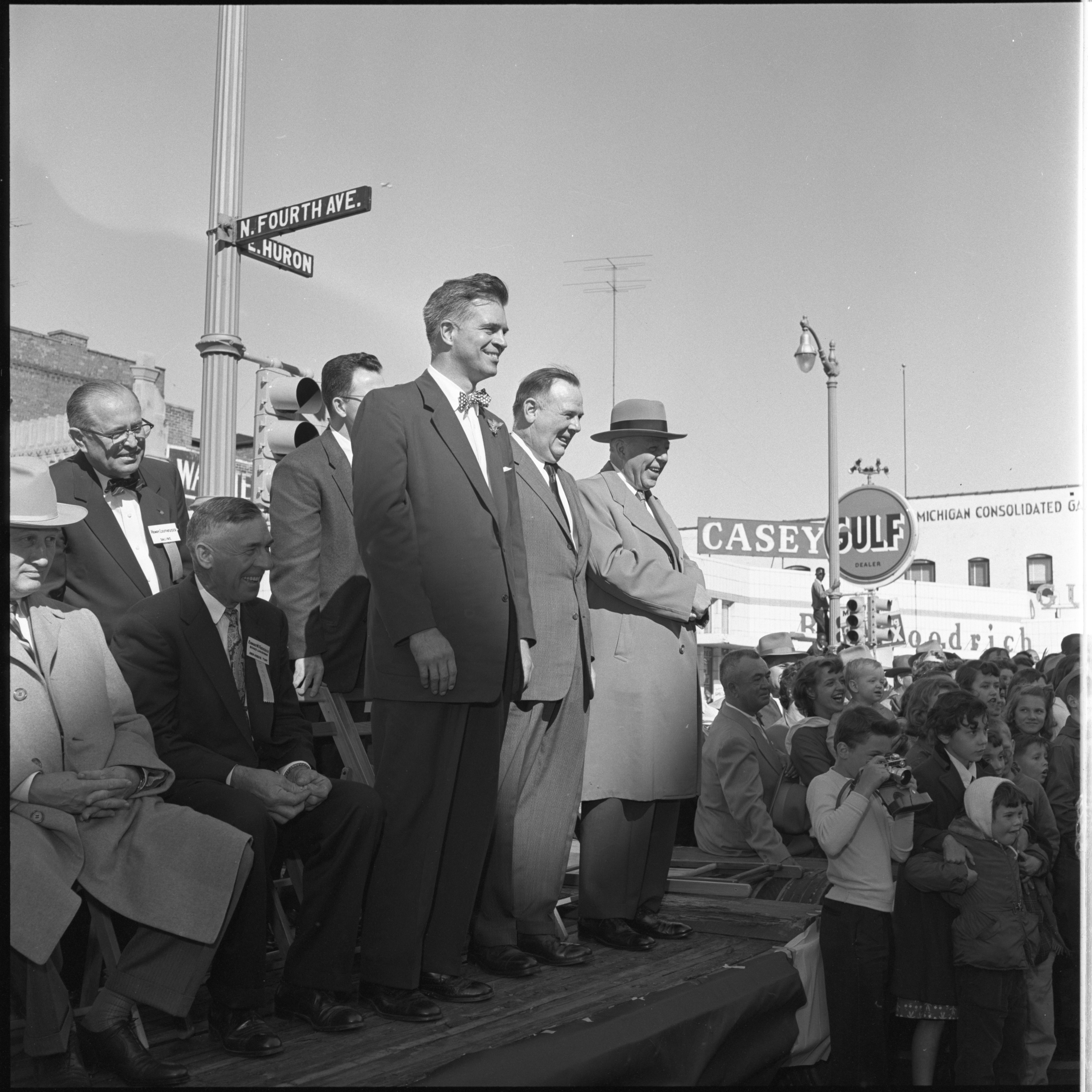Michigan Dignitaries Watch The Washtenaw County Building Dedication Parade, October 1956 image