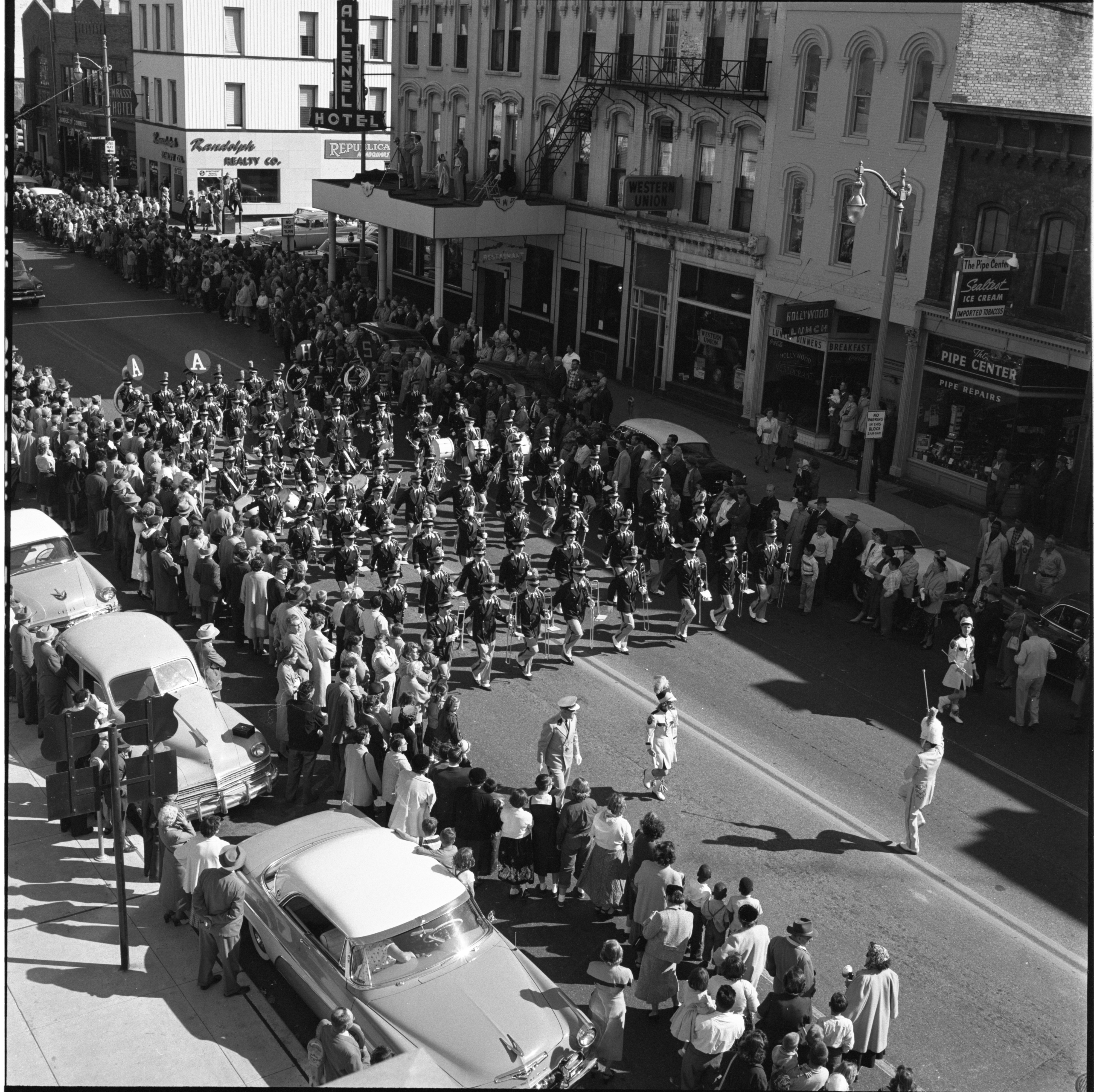 Ann Arbor High School's Band Marches Down Huron Street In The Washtenaw County Building Dedication Parade, October 1956 image