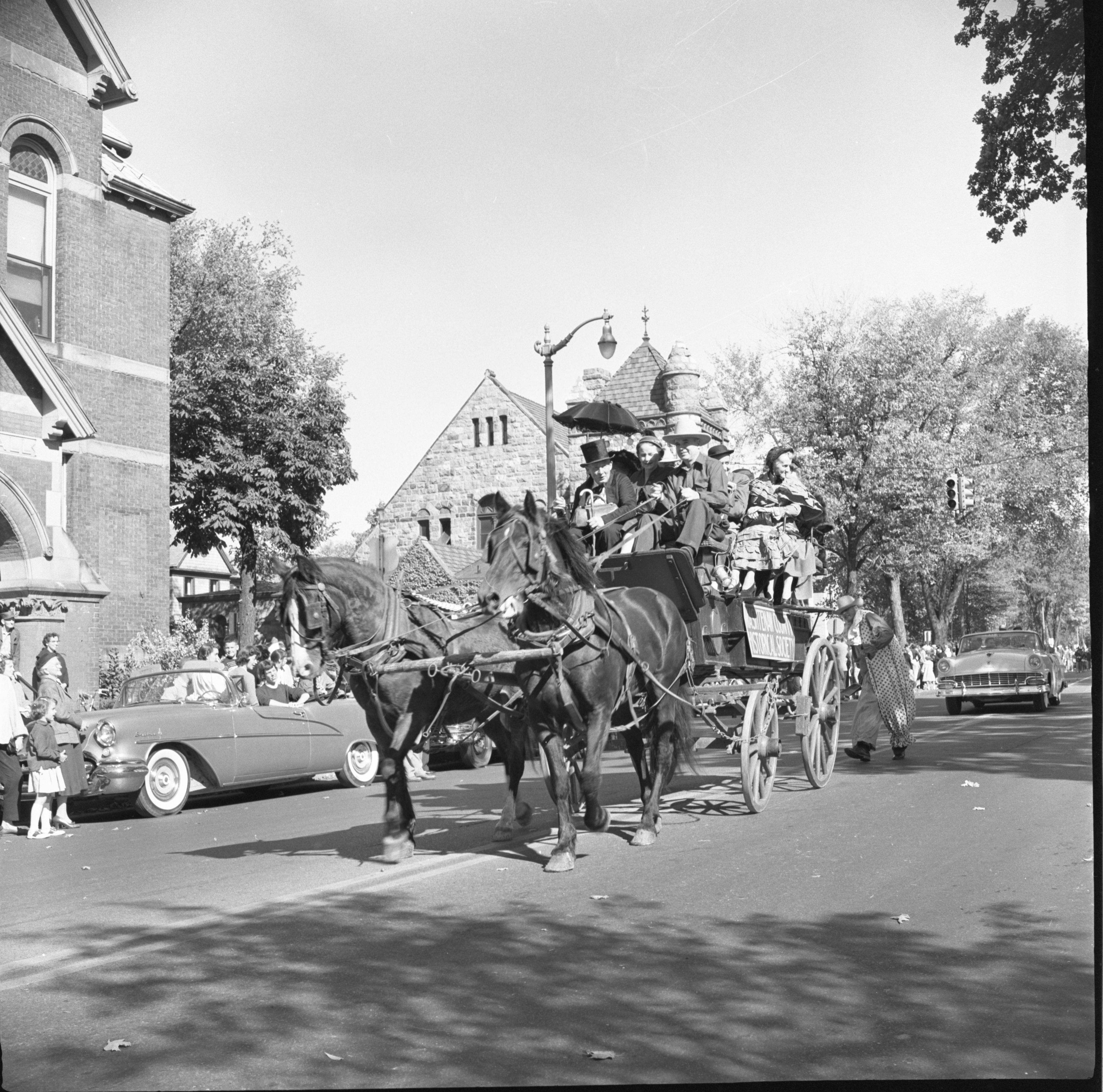 Washtenaw Historical Society Members Ride In The Washtenaw County Building Dedication Parade, October 1956 image