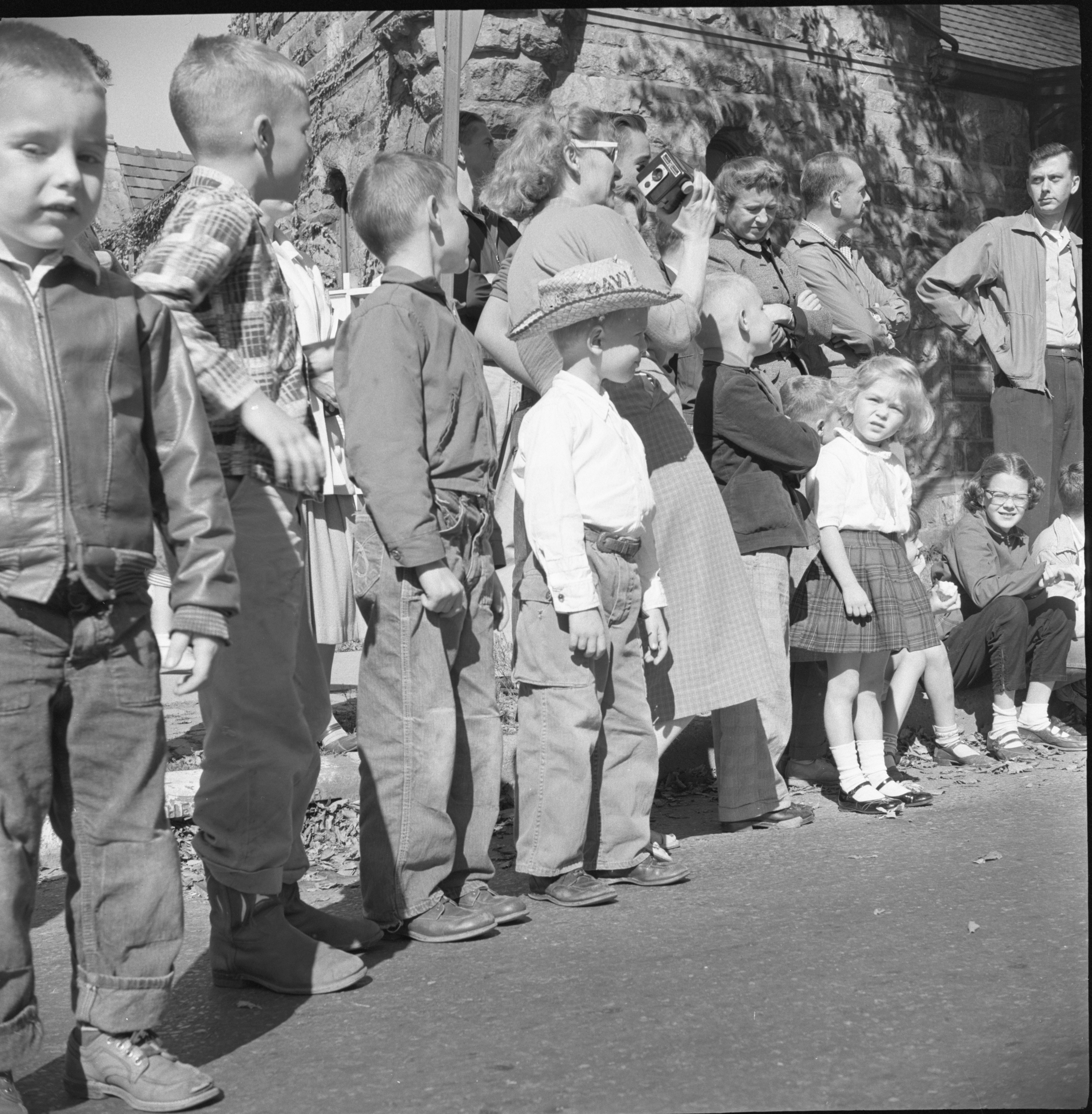 Spectators Wait For The Washtenaw County Building Dedication Parade, October 1956 image