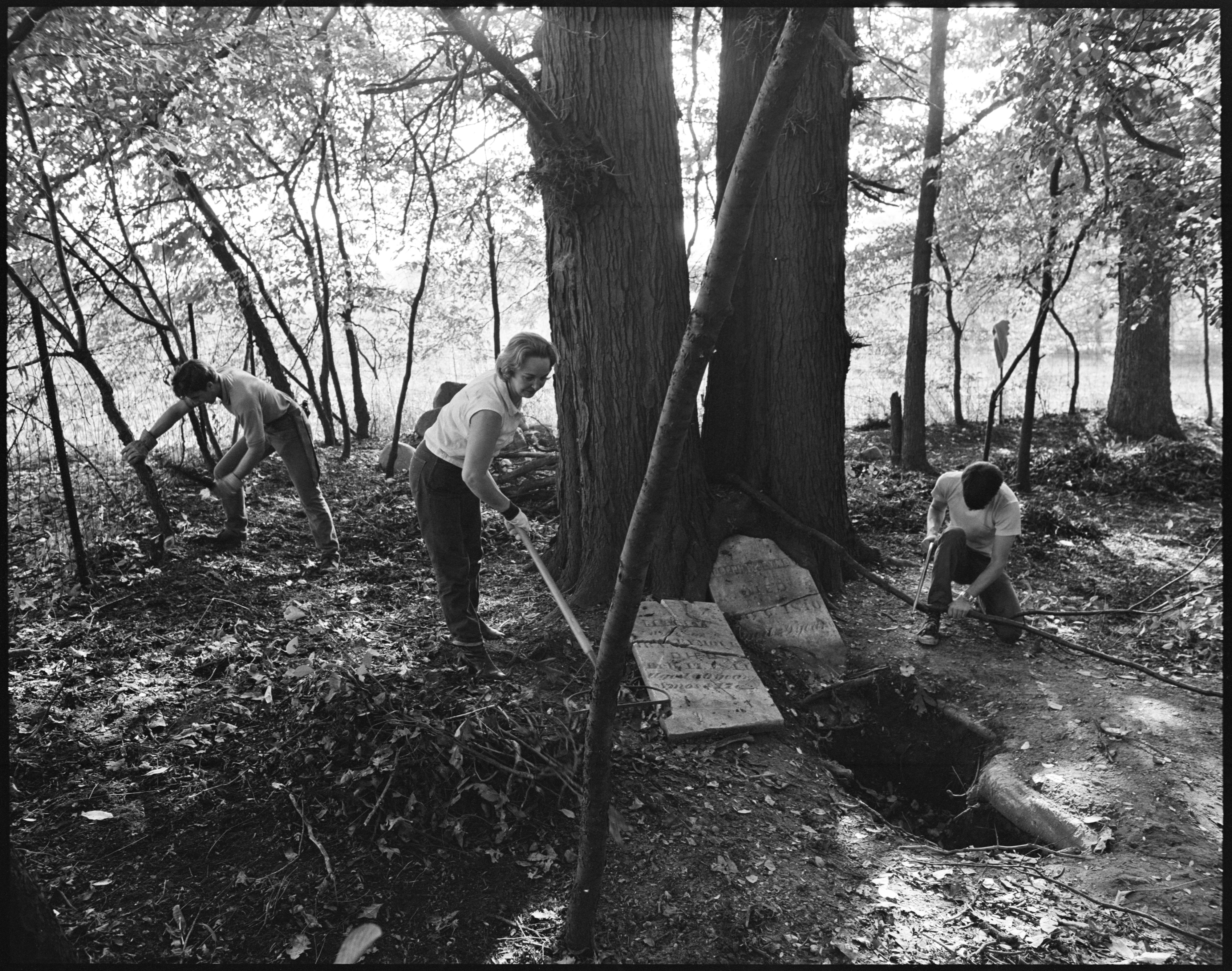 Members Of The Dexter Area Historical Society Work To Restore Scio Cemetery, October 1971 image