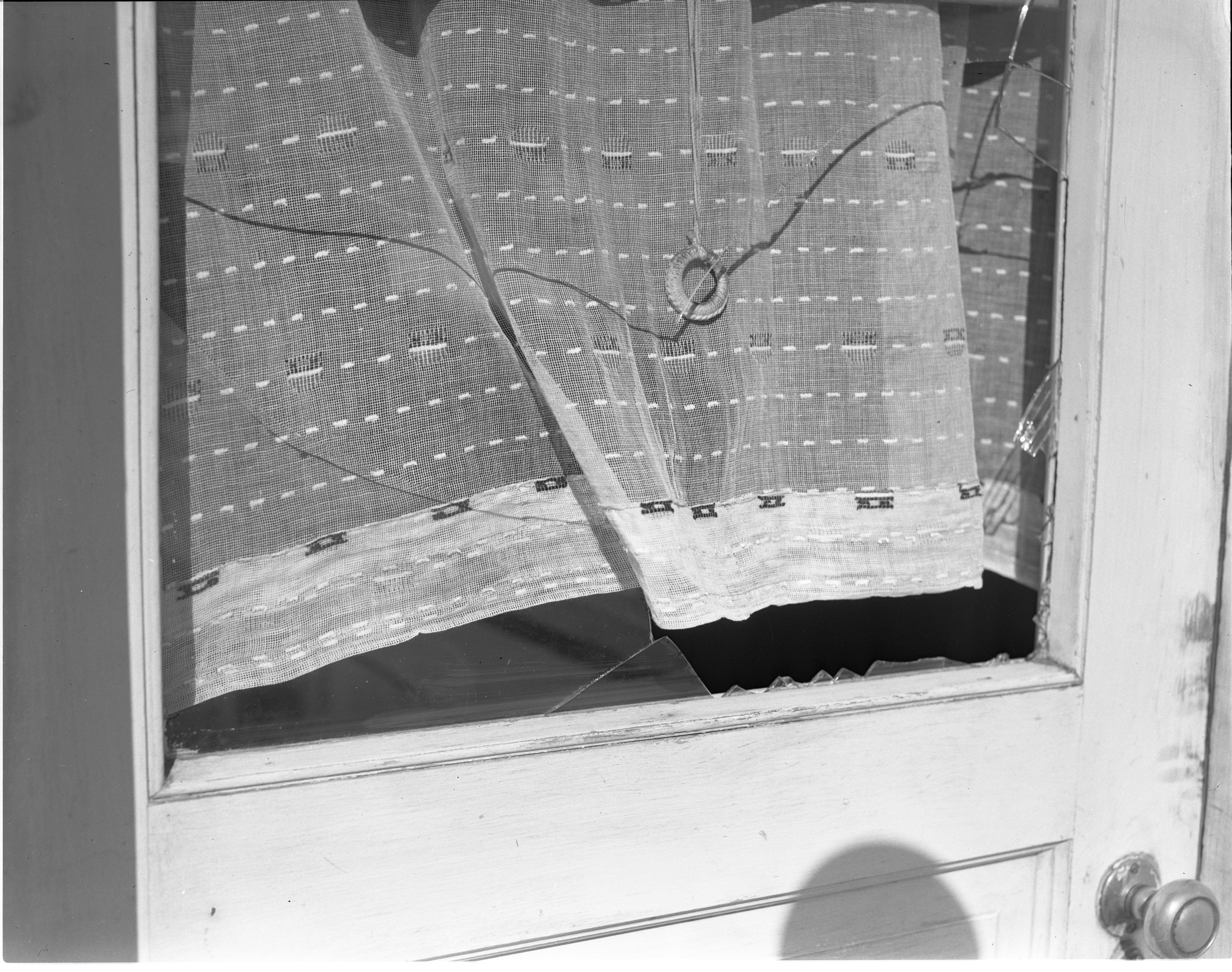 Smashed Side Door Window In The Murder Scene Of Zella McConnell, April 1949 image