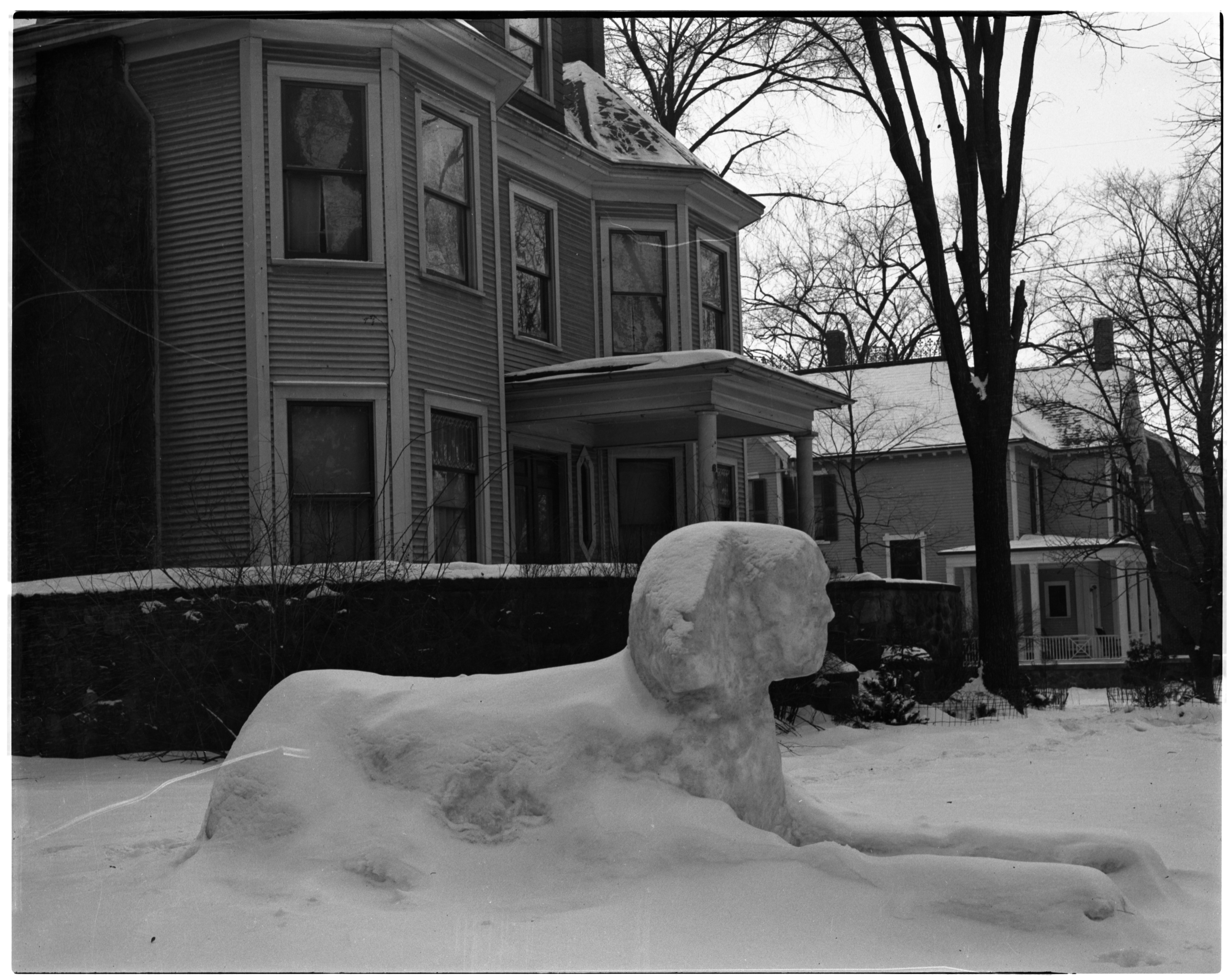 Snow Sphinx Outside Alpha Rho Chi Fraternity, January 1936 image