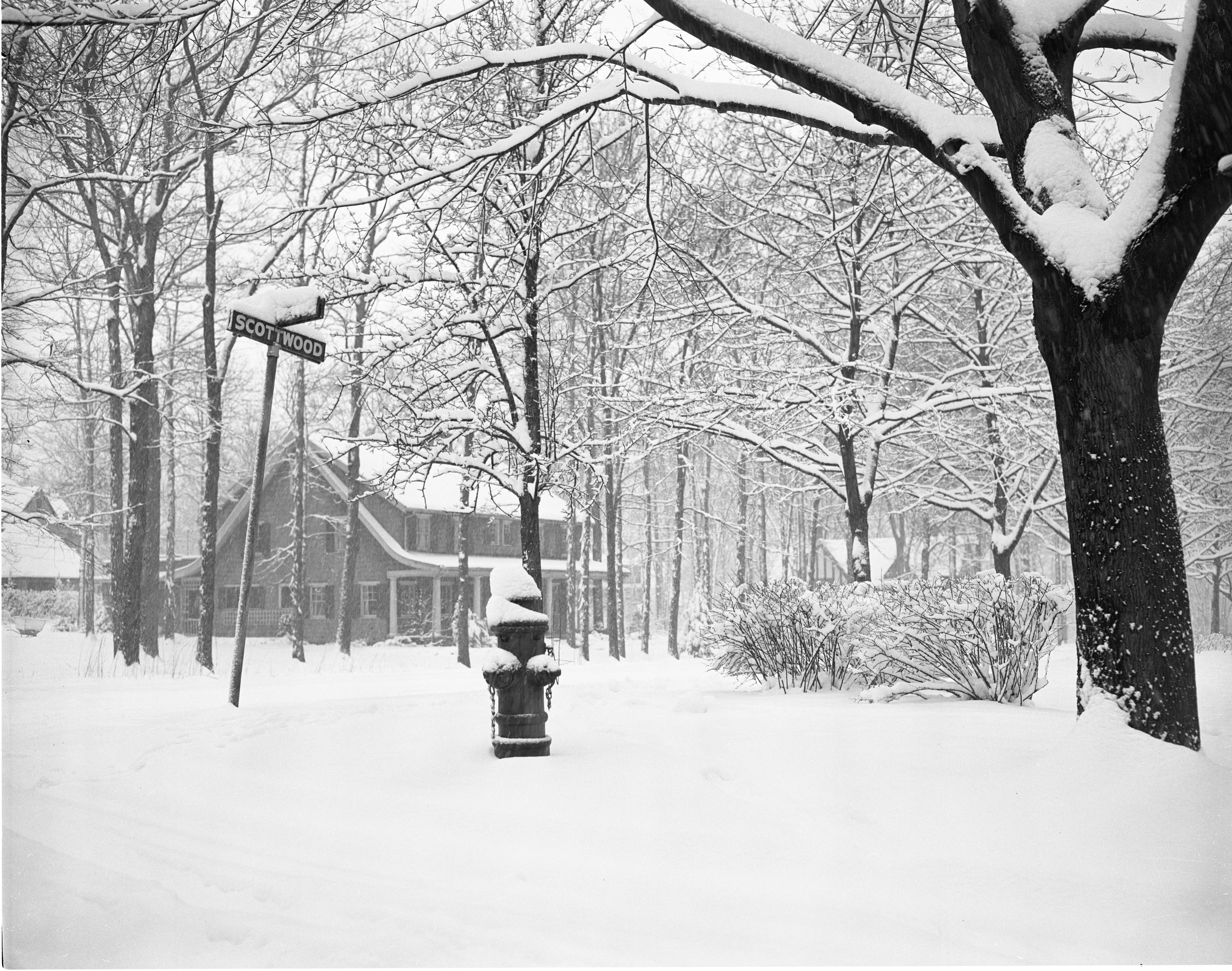 Snow Covers The Intersection Of Scottwood Avenue & Norway Road, March 1956 image