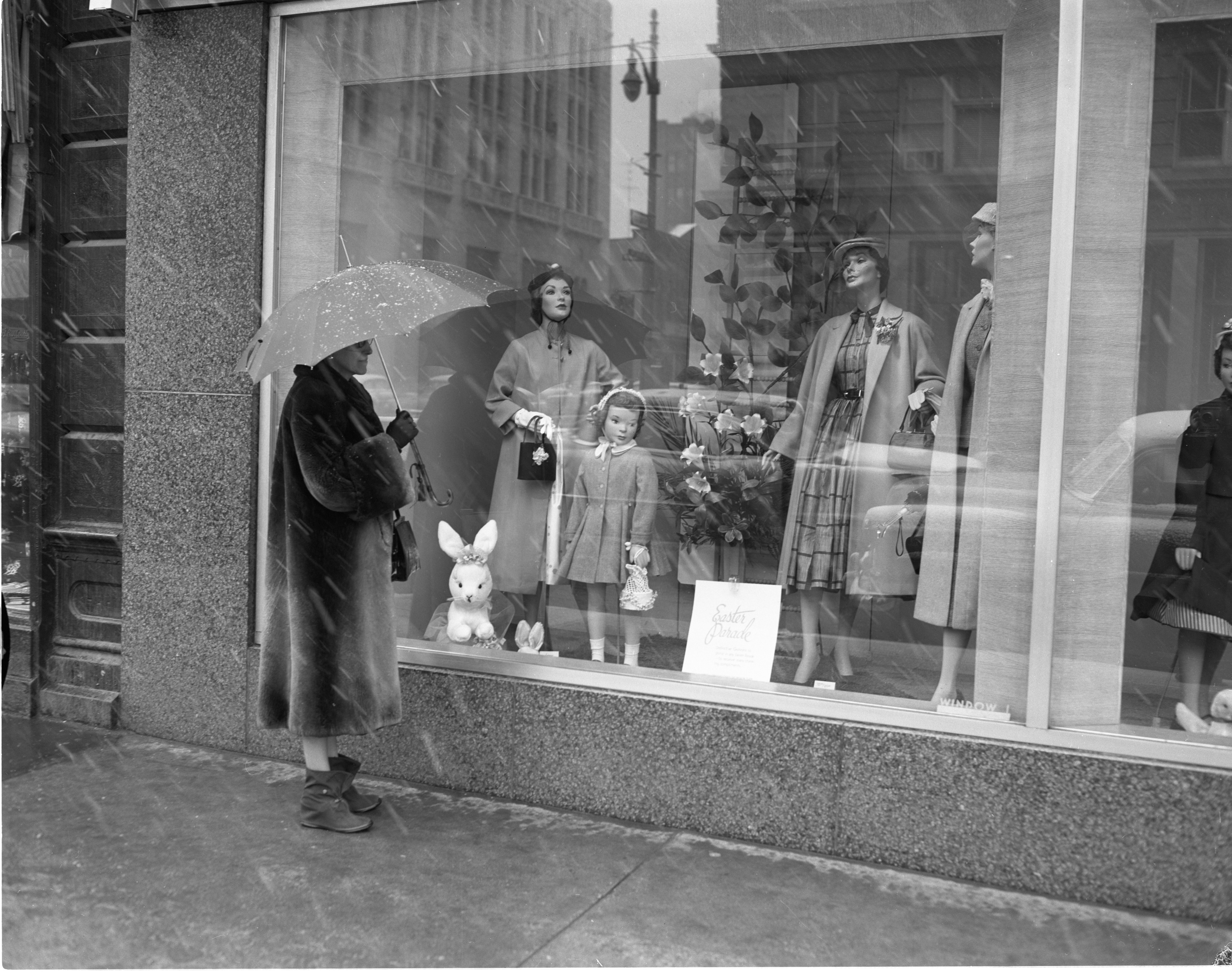 Window Shopper Outside Of Goodyear's Department Store, March 1956 image