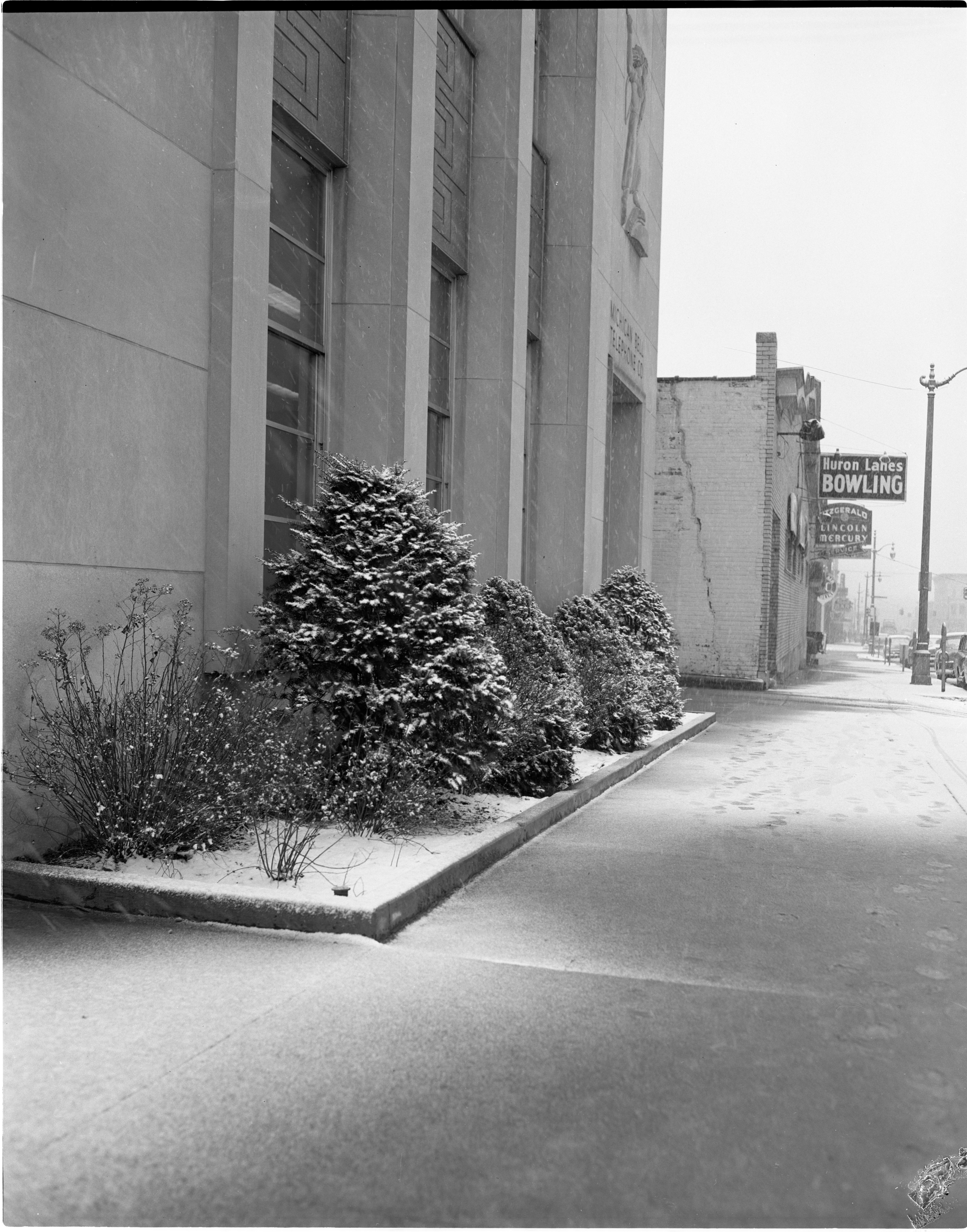 Snowy Sidewalk On East Huron Street, March 1956 image