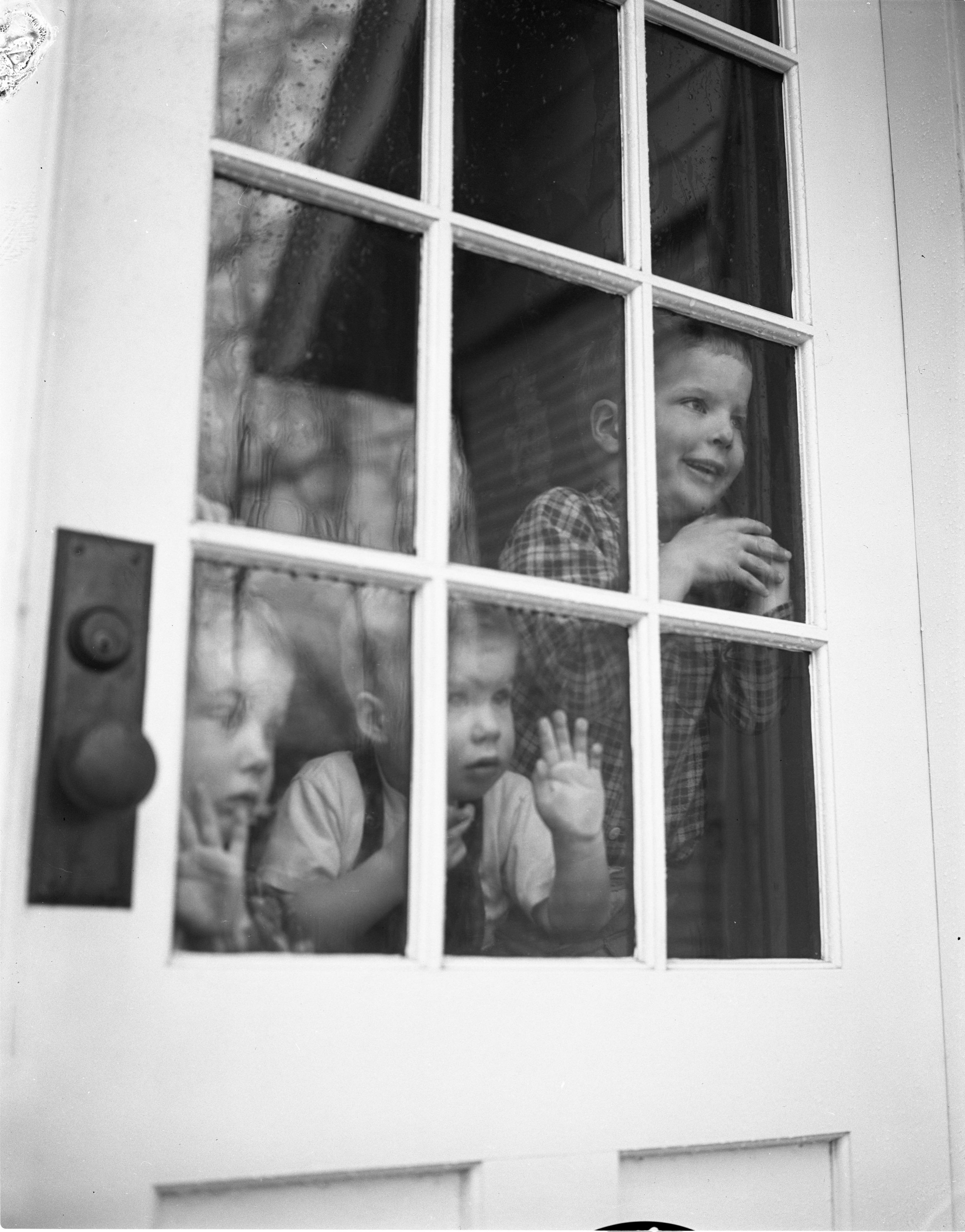 Children Watching Rain Through Window April 1956 Ann Arbor District Library