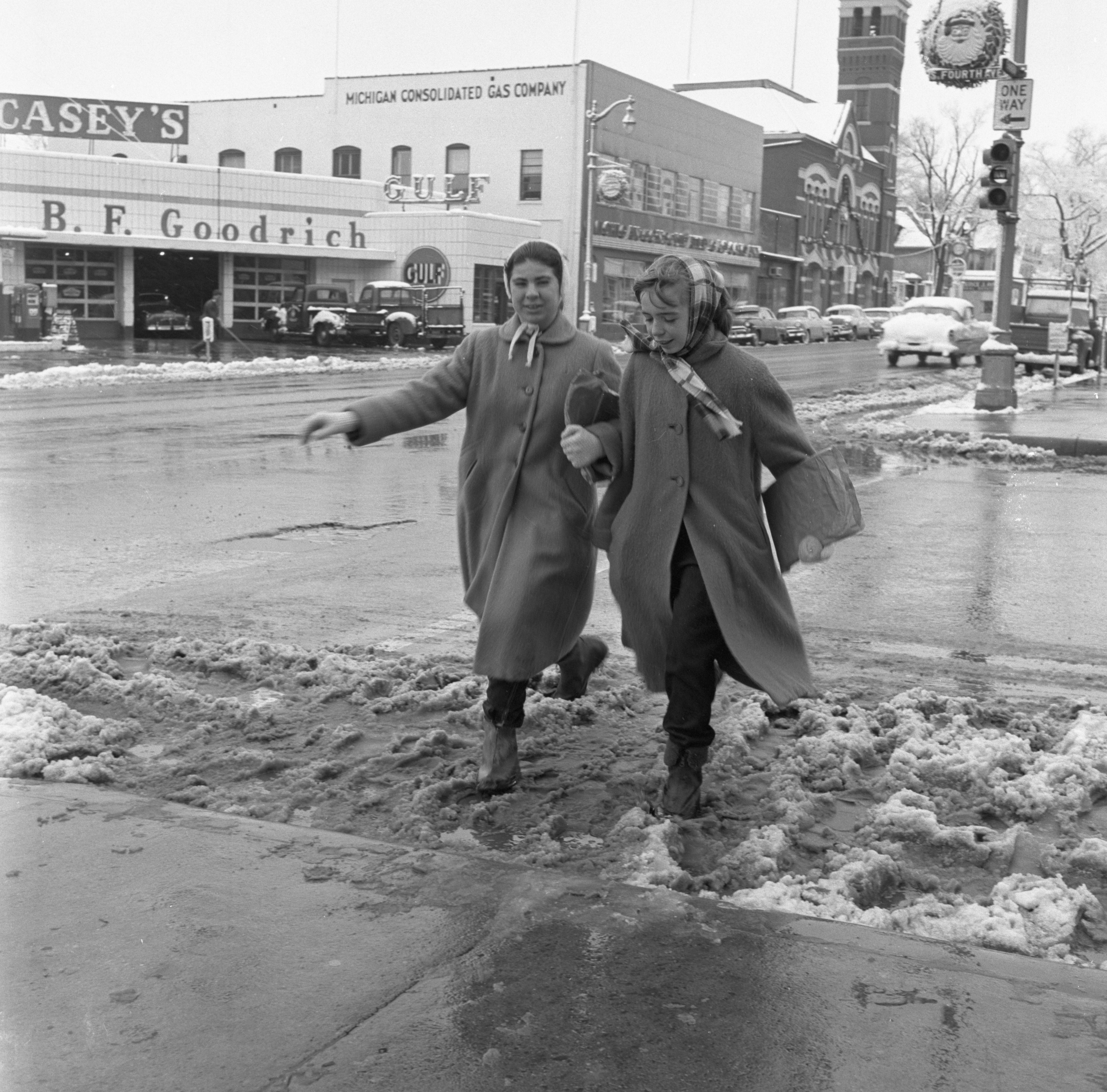 Pedestrians Cross Fourth Avenue After A Snowfall, December 1957 image