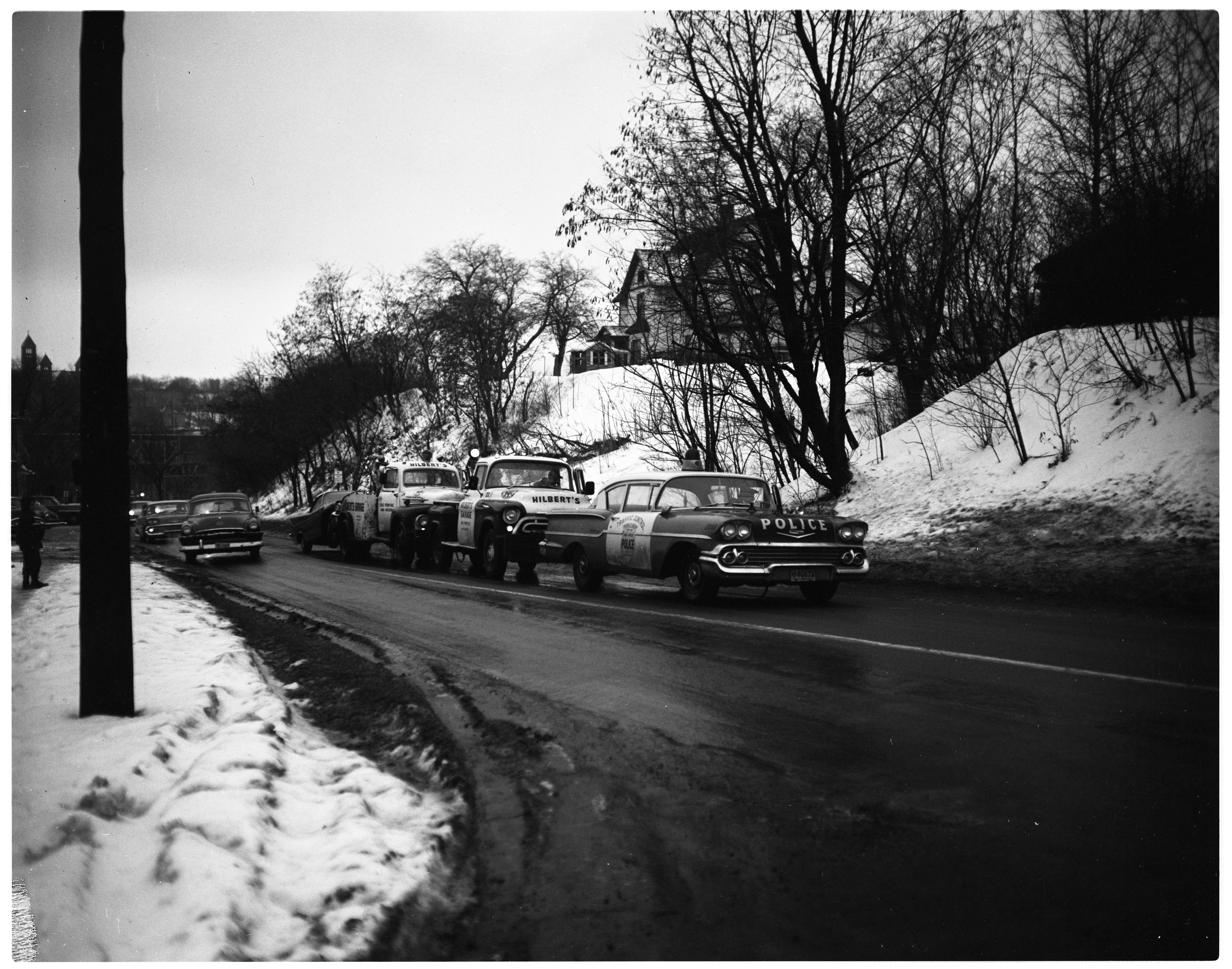 Ann Arbor Police Car Pushed By Wreckers, January 1959 image
