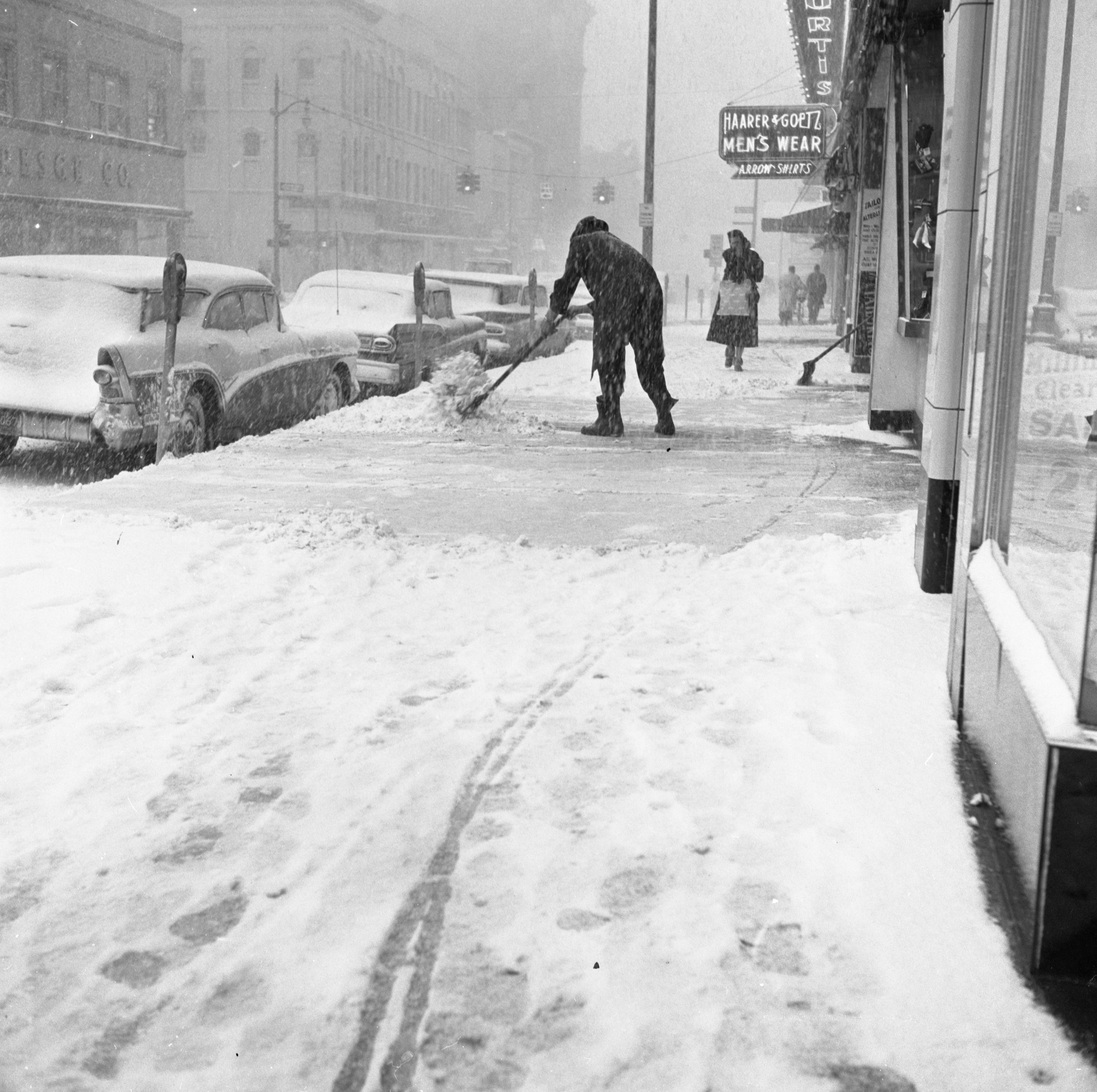 Shoveling Main Street Sidewalk In Snow Storm, February 1960 image