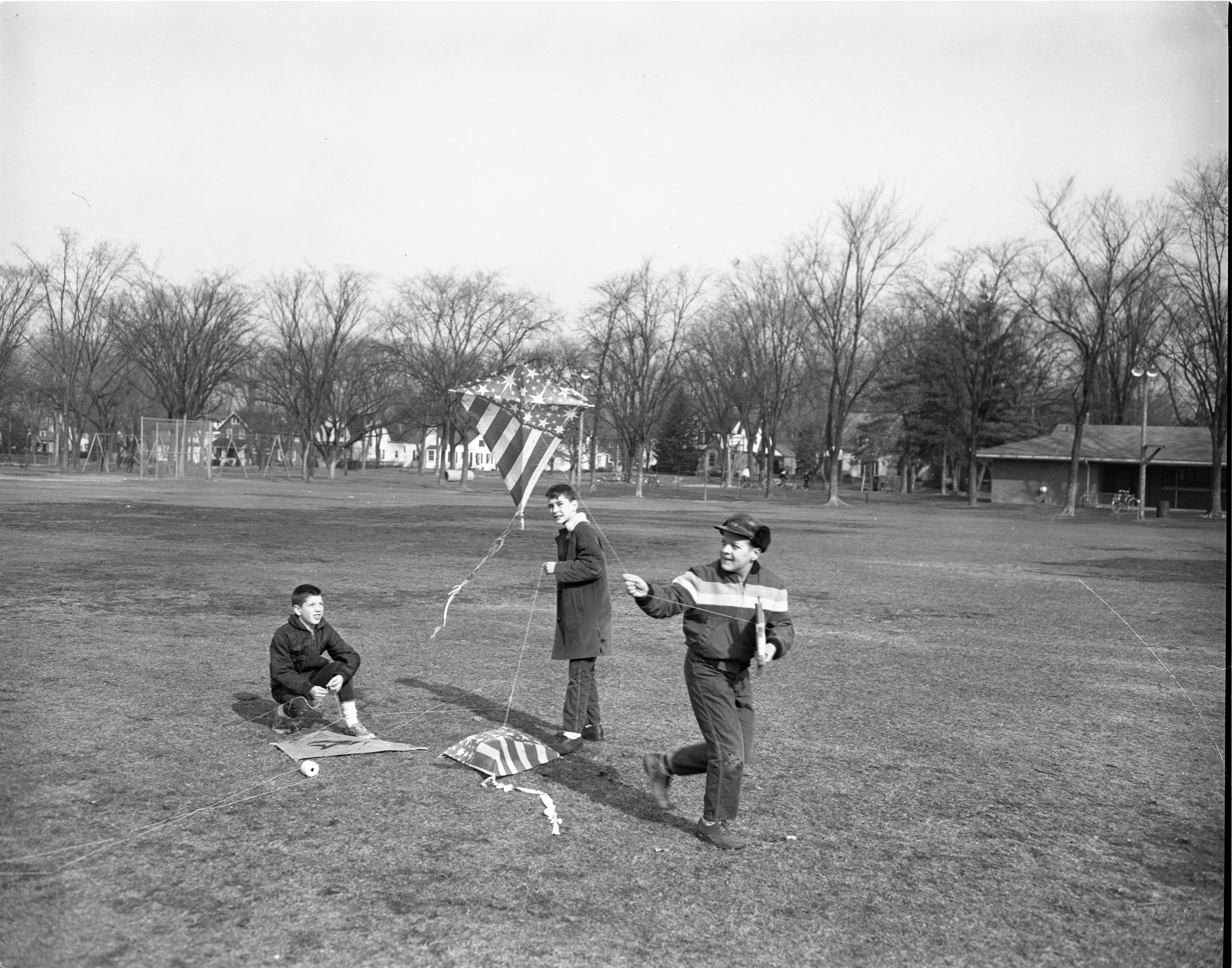 Kite Flying At Burns Park, March 1964 image