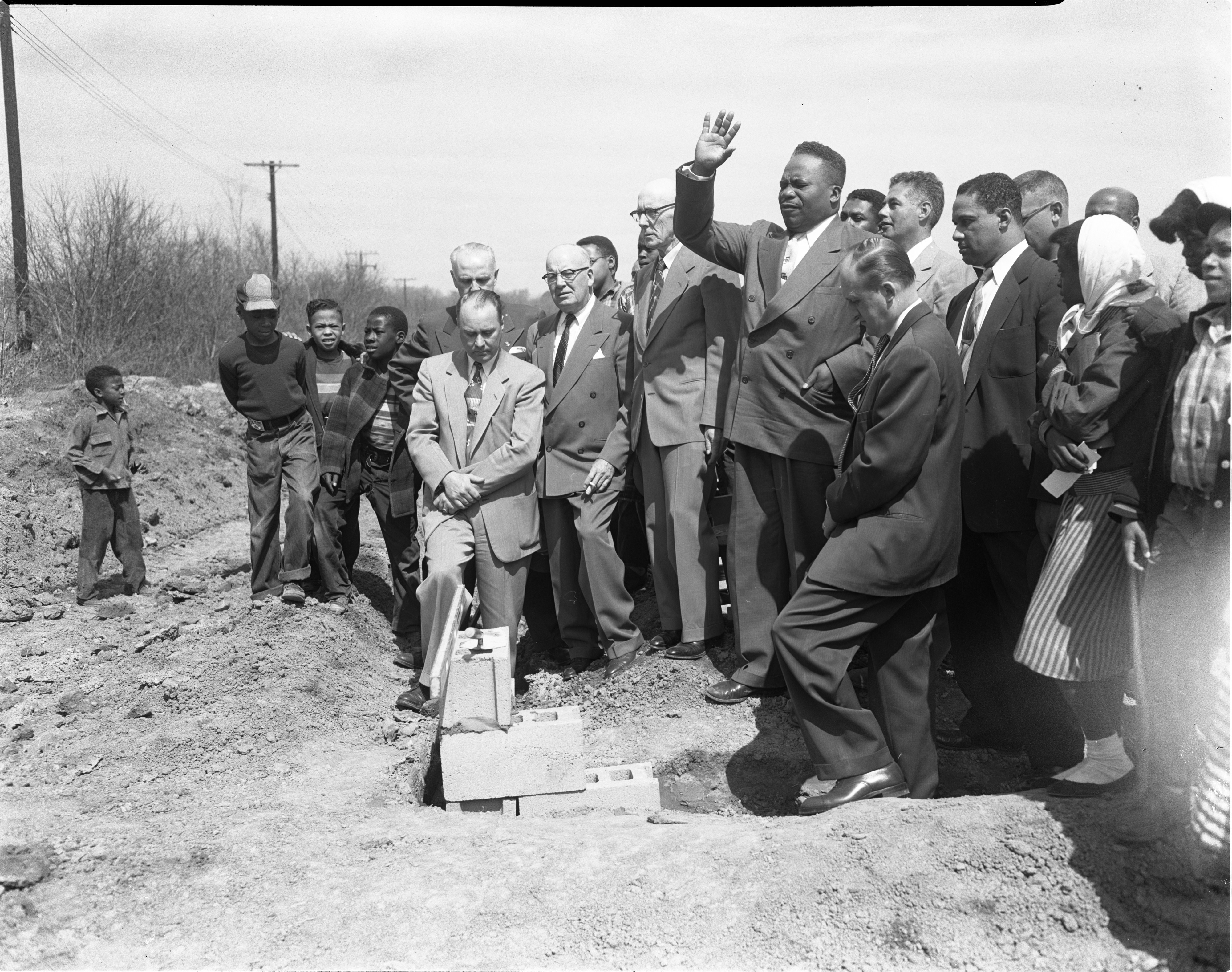 Group Gather To Commemorate The Construction Of The Amos Washington Subdivision, April 1954 image