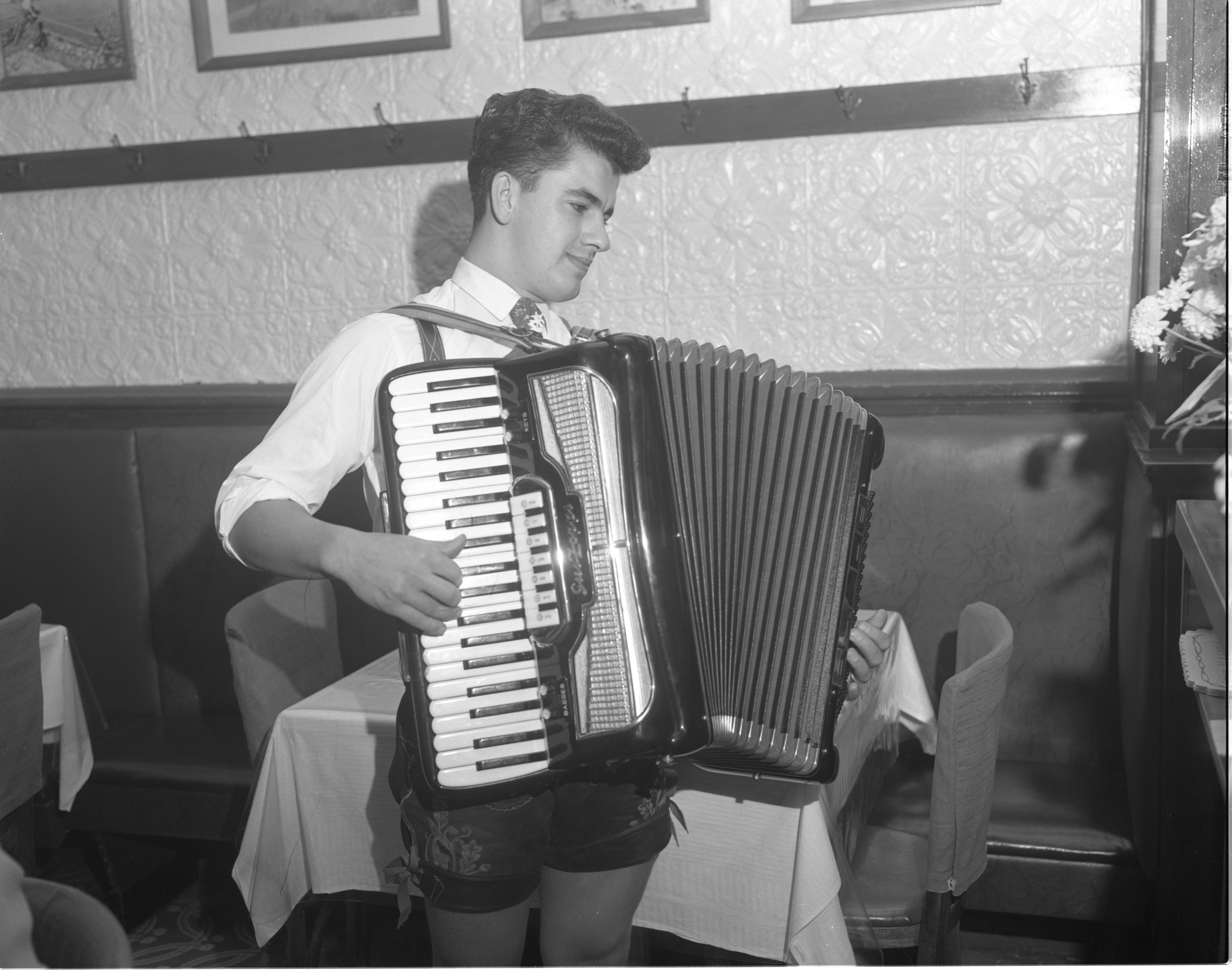 Adam Kryczkowski Plays Accordion At Haab's Restaurant - November 1961 image