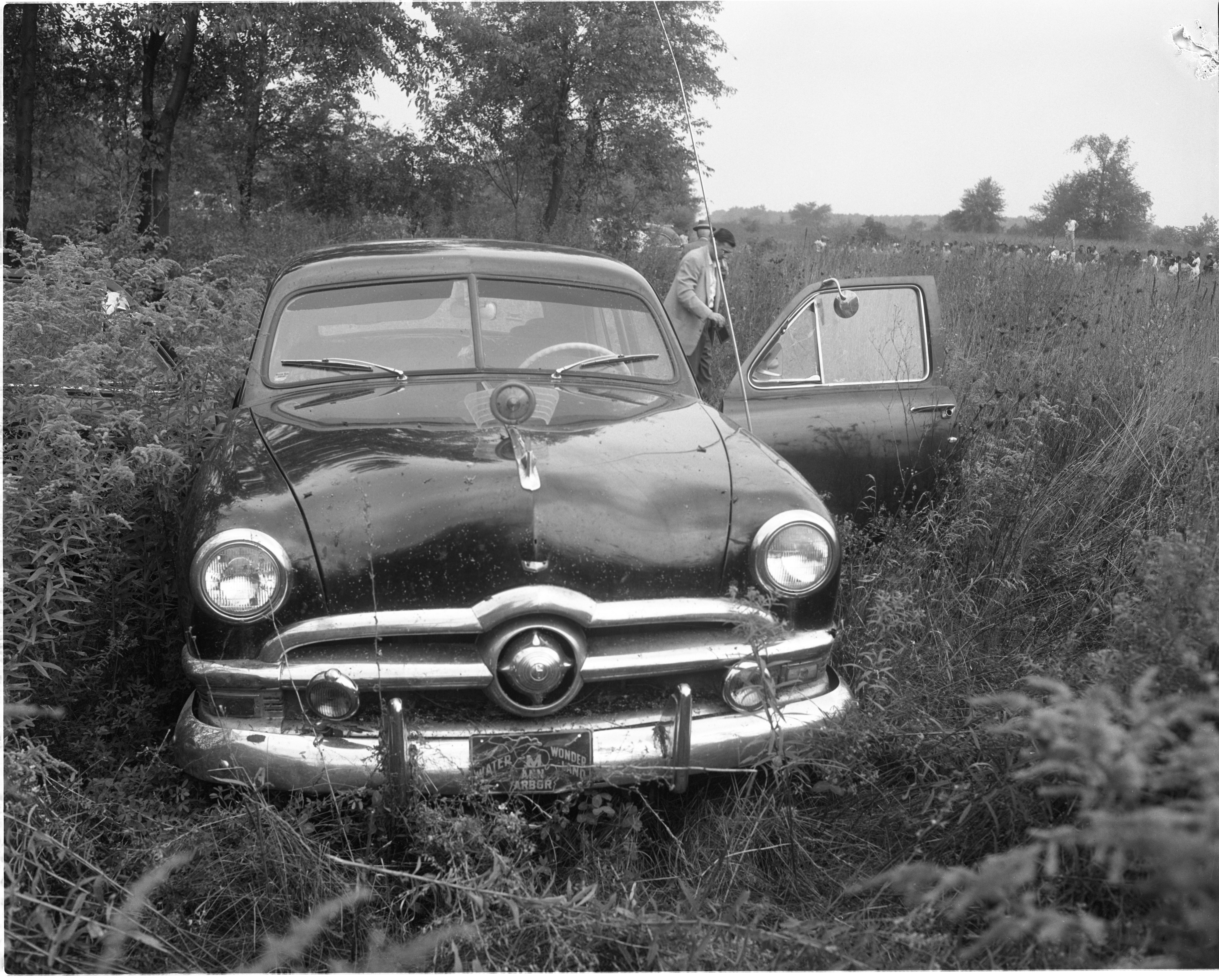 Investigators At The Willow Village Scene Where Murder Victim Dell Cain Was Found, September 1956 image