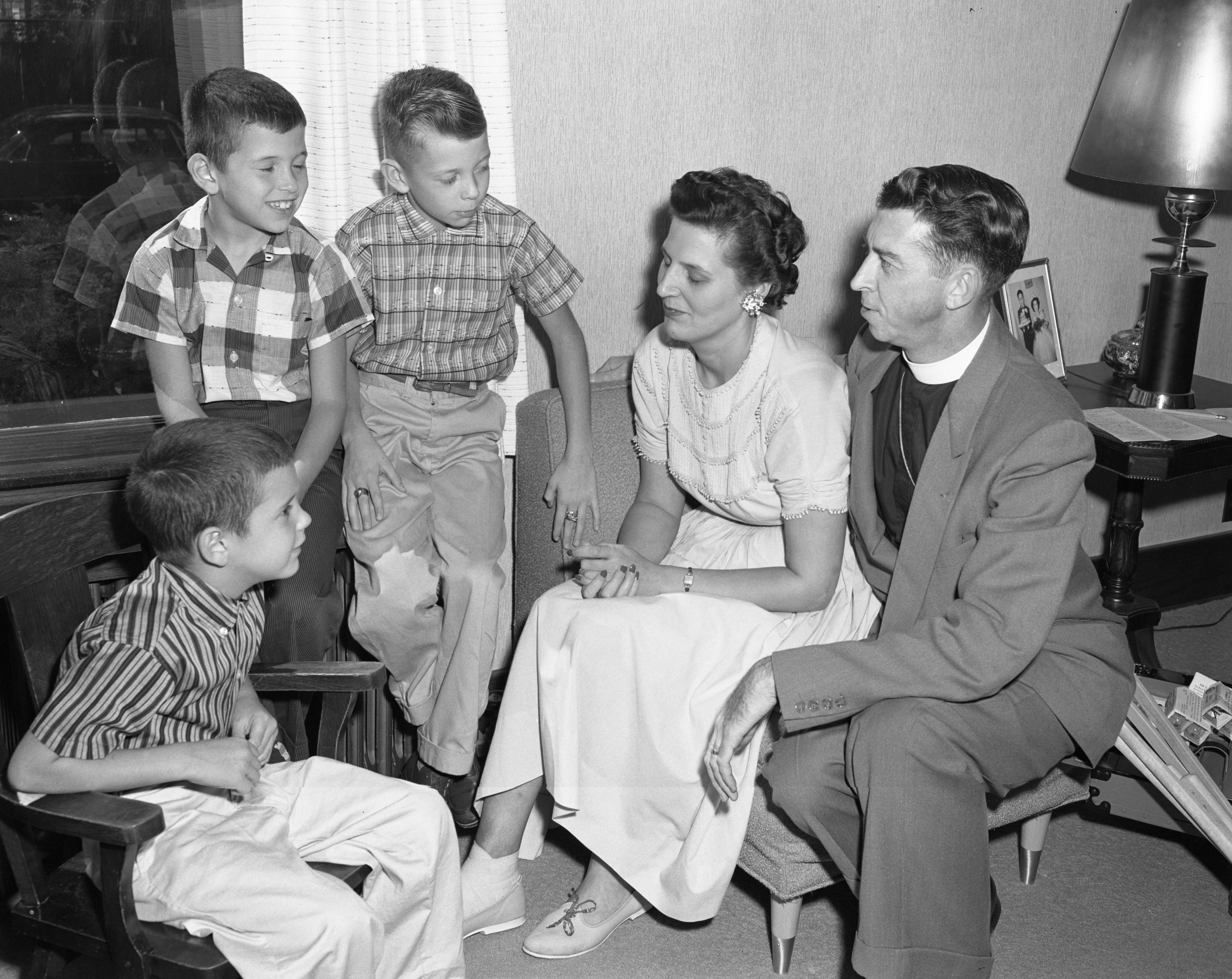 Rev. Sidney Rood of St. Luke's Episcopal Church and His Family, Ypsilanti, August 1958 image