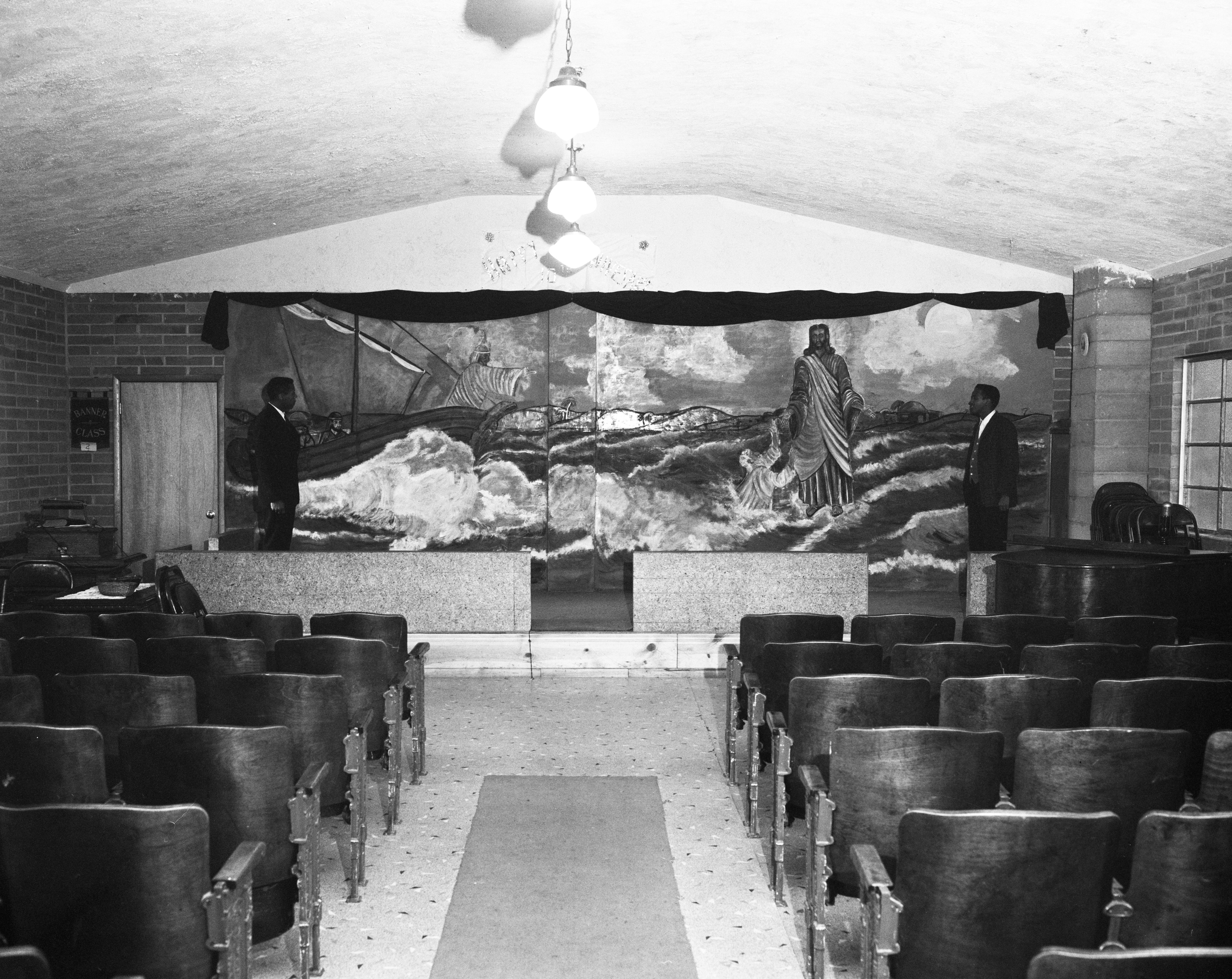 Walls Brothers Look at Mural They Painted at Shiloh Church of God in Christ, November 1961 image