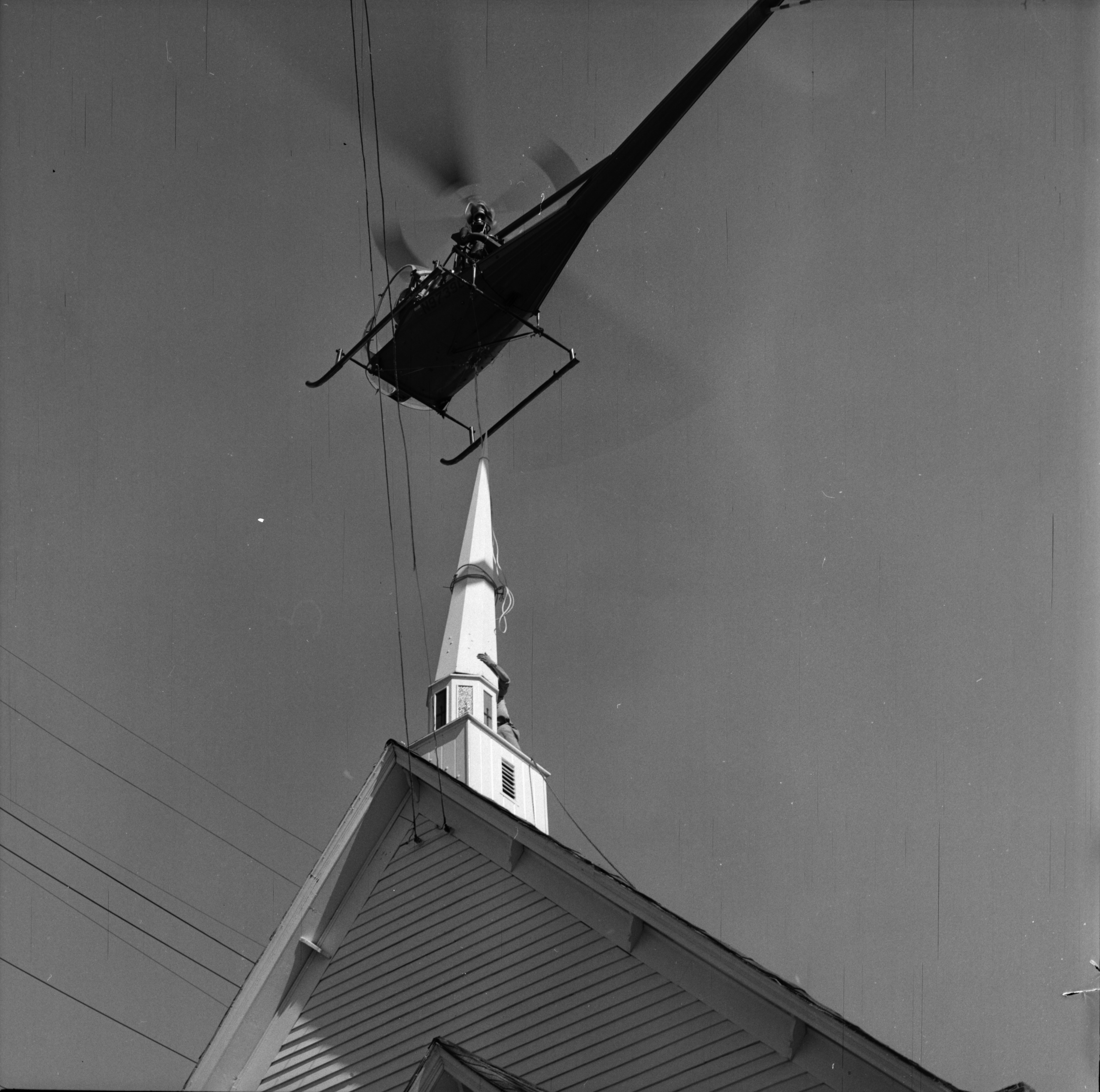 New Steeple Installed with Helicopter at Bethesda Bible Church, Ypsilanti, October 1963 image