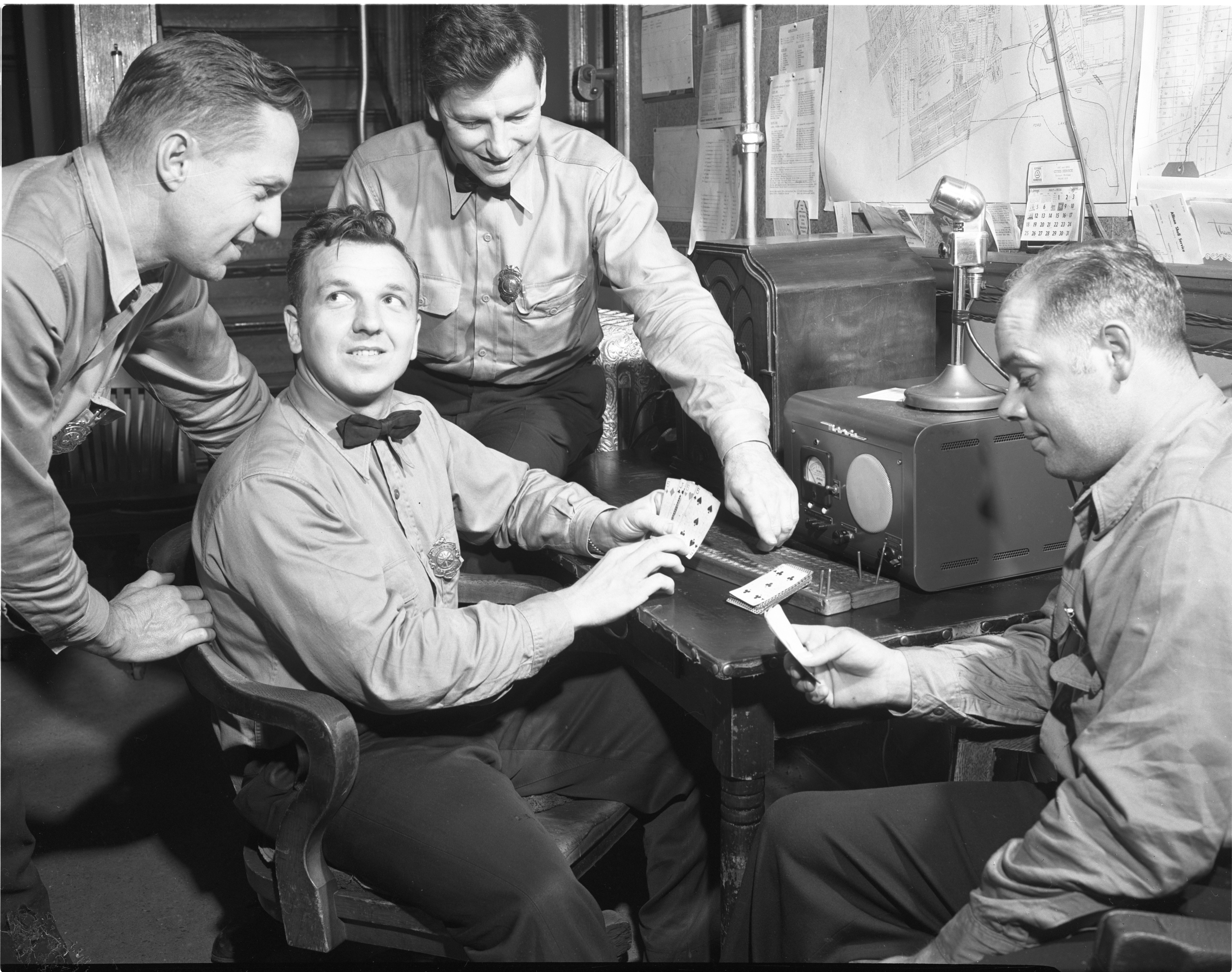 Ypsilanti Firemen Playing Cribbage, October 1954 image
