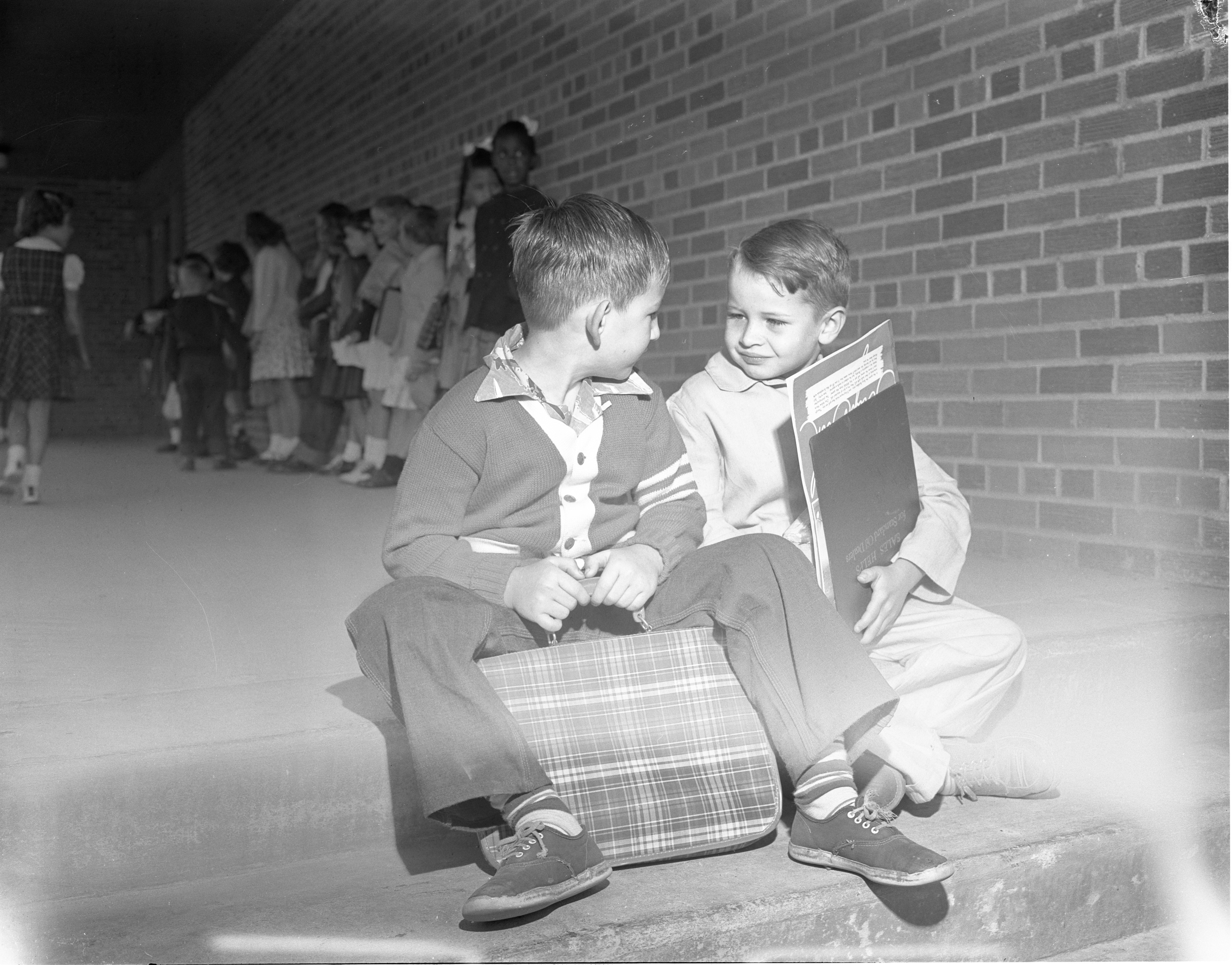 Students On The First Day Of School At Chapelle School, September 1954 image
