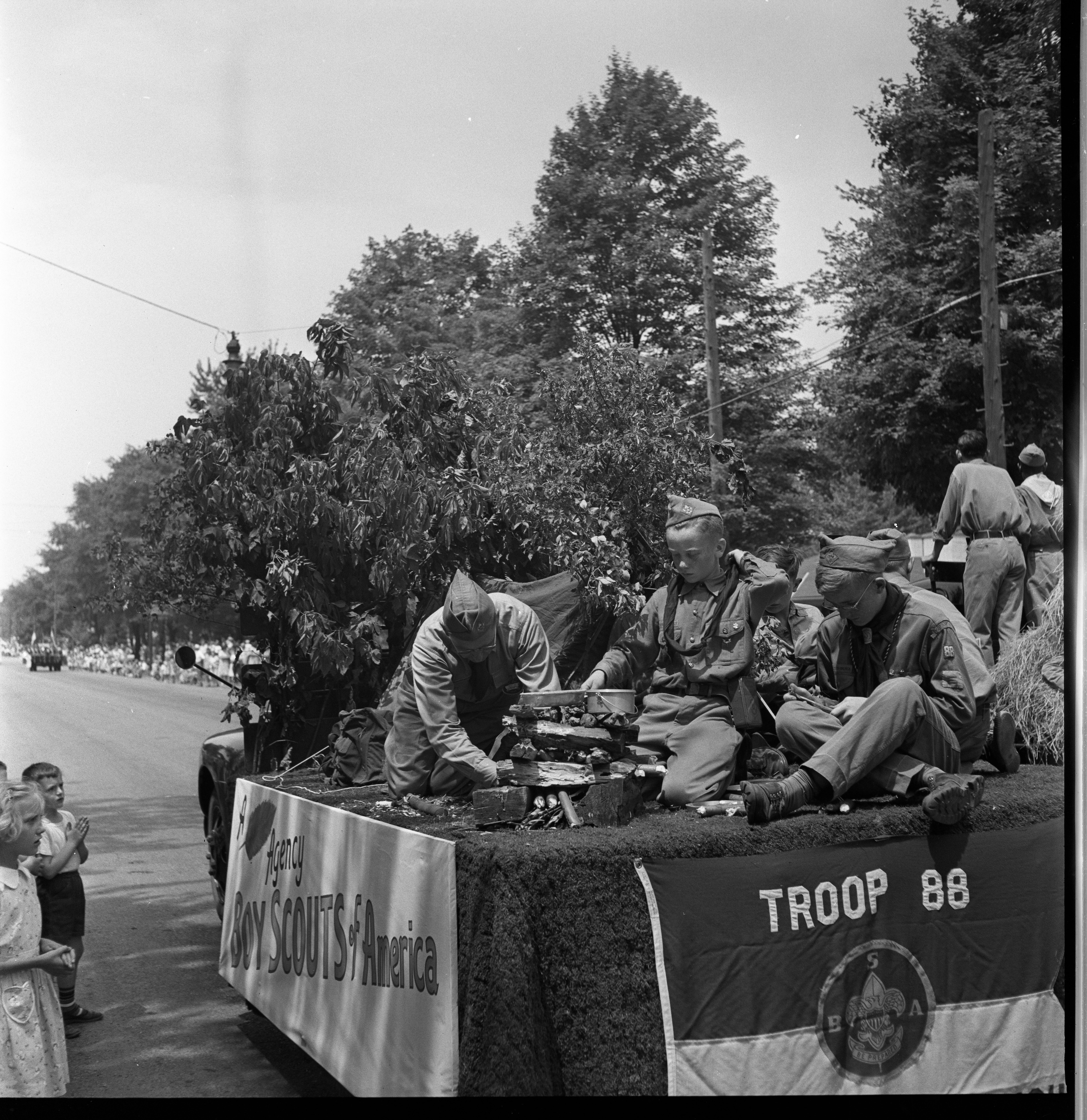Boy Scouts Of America, Troop 88, On Float In The Ypsilanti Fourth Of July Parade, July 1949 image