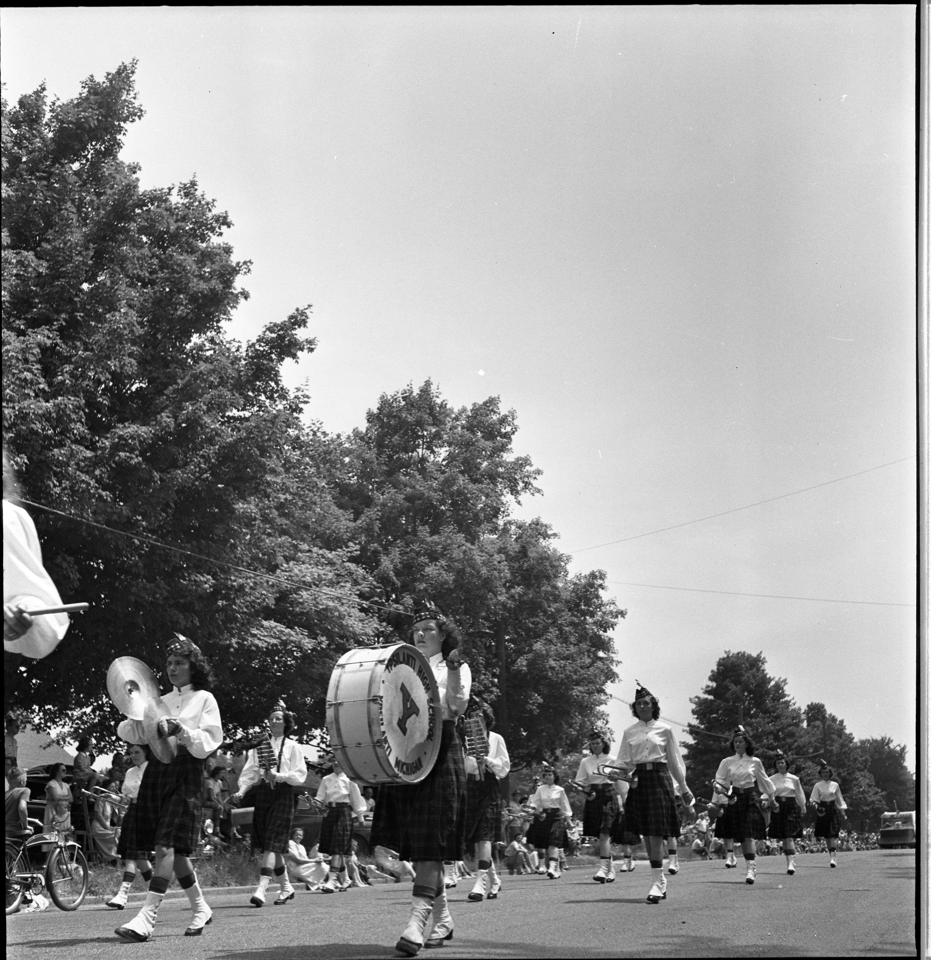 Ypsilanti High School Marching Band In The Ypsilanti Fourth Of July Parade, July 1949 image